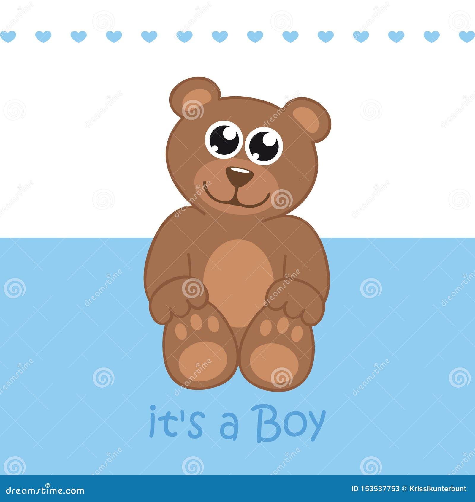 Son une carte de voeux d accueil de garçon pour l accouchement avec l ours de nounours