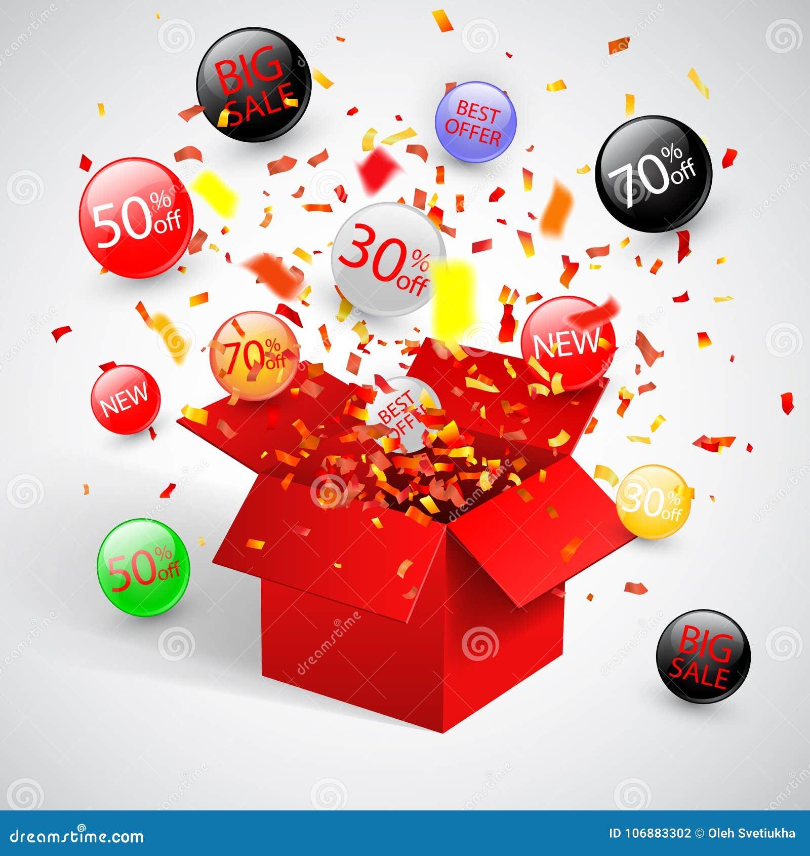 Sonderangebotverkaufsrabattsymbol mit offenen roten Geschenk- und Flussaufklebern Bedienungsfreundlich für Ihr Design