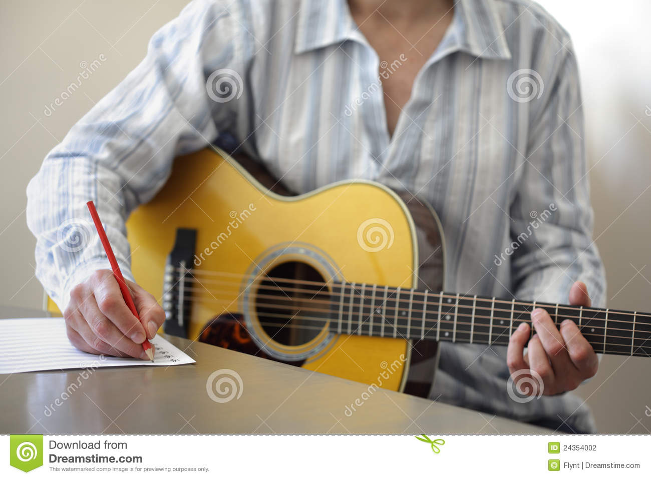 Song writing on acoustic guitar