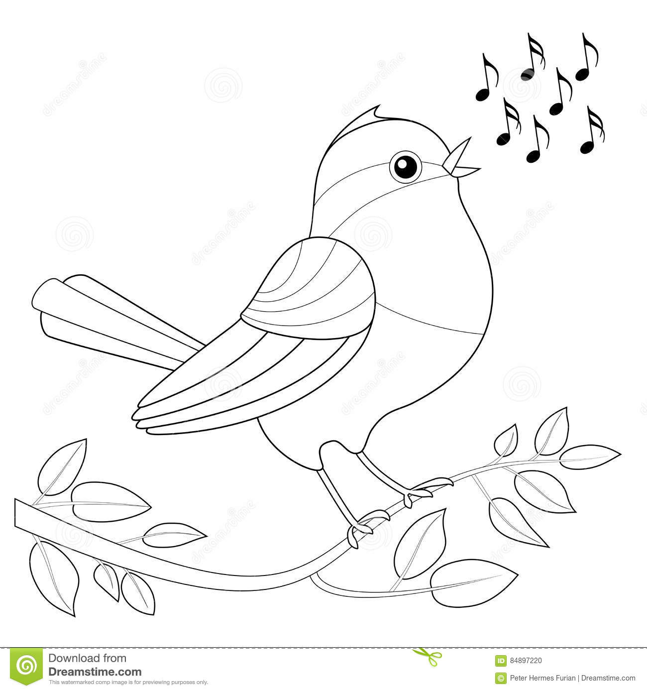 Songbird Coloring Picture Stock Photo
