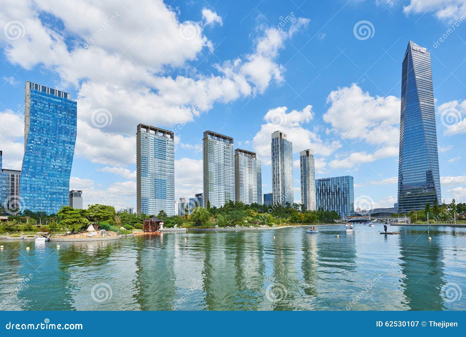 Songdo,韩国- 2015年9月07日:Songdo IBD