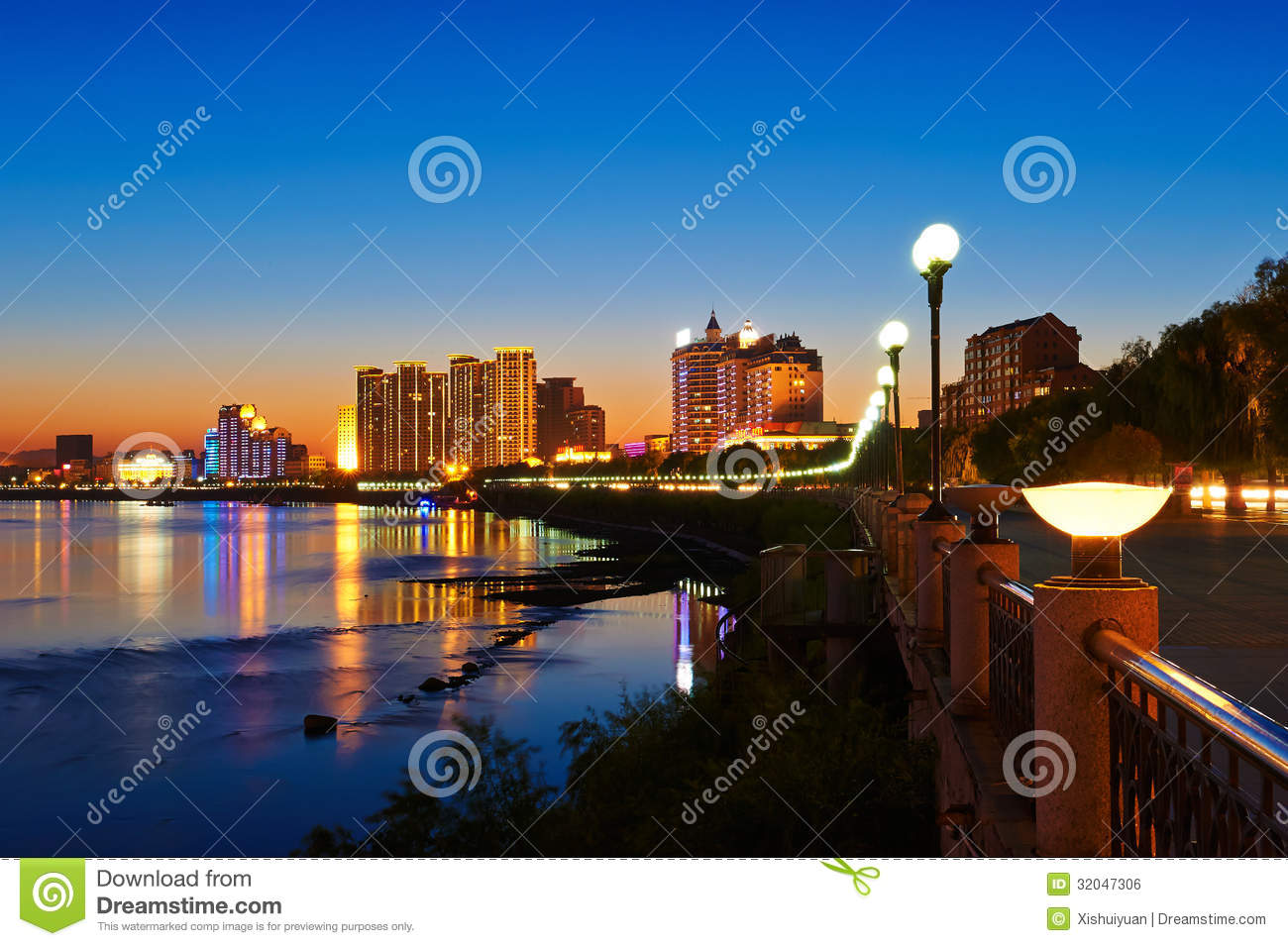 The Songhua River Sunset Jilin Royalty Free Stock Image ...
