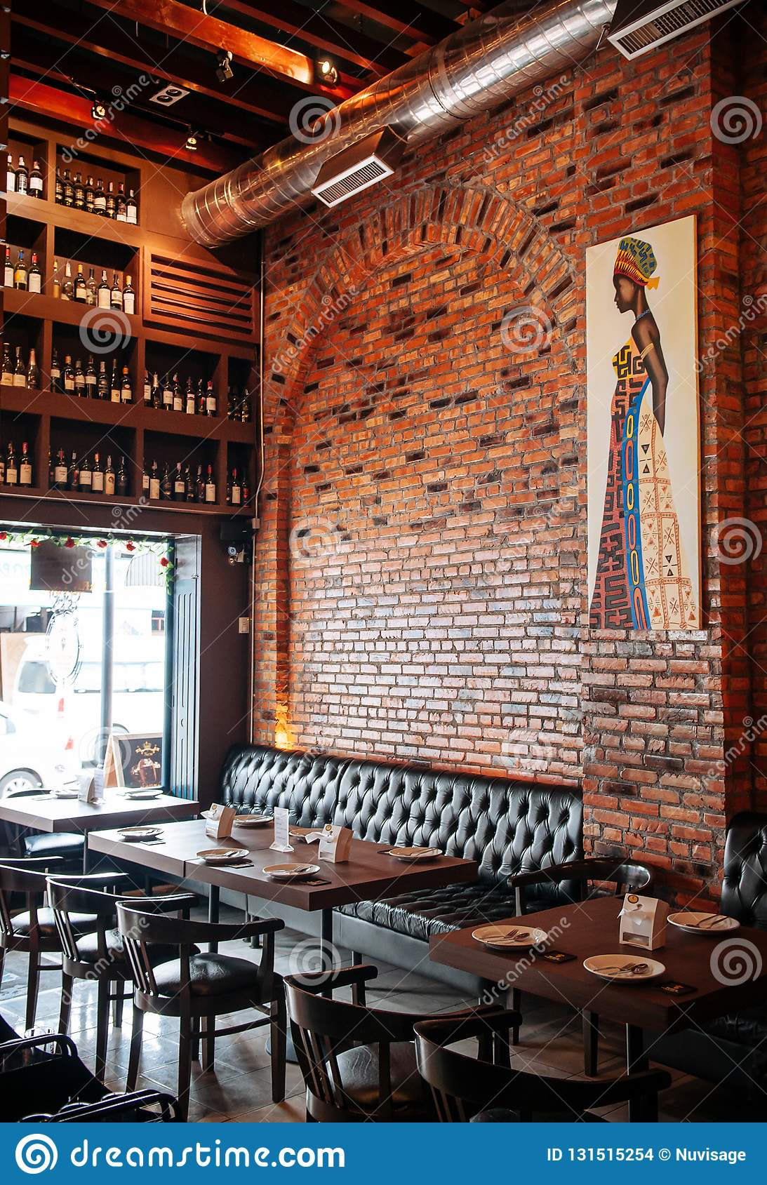 Songkhla Thailand Vibrant Cool Industrial Loft Restaurant Interior Style With Leather Couch Wood Chairs And Editorial Stock Image Image Of Home Building 131515254