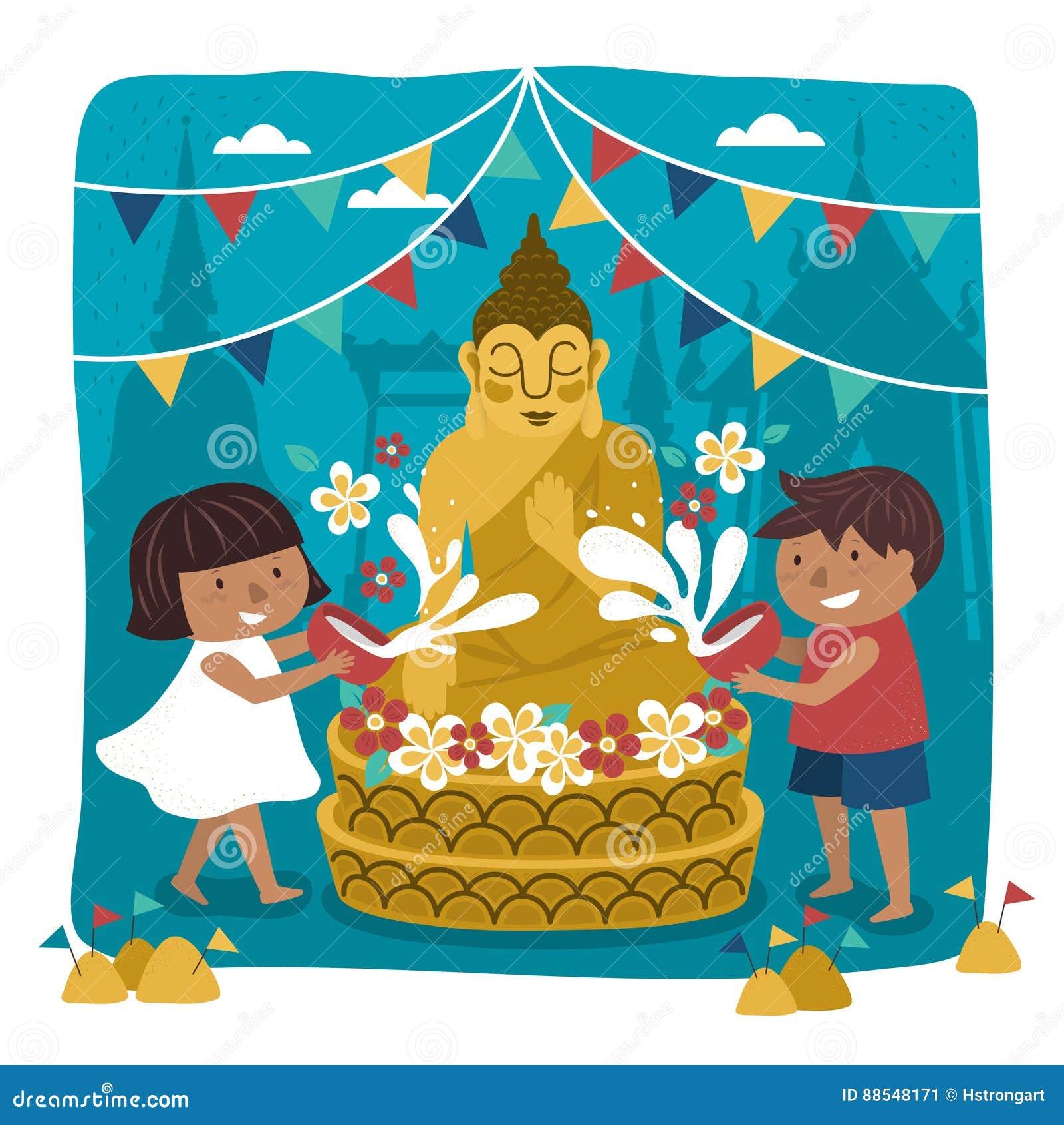 Songkran Festival Illustration Cartoon Vector