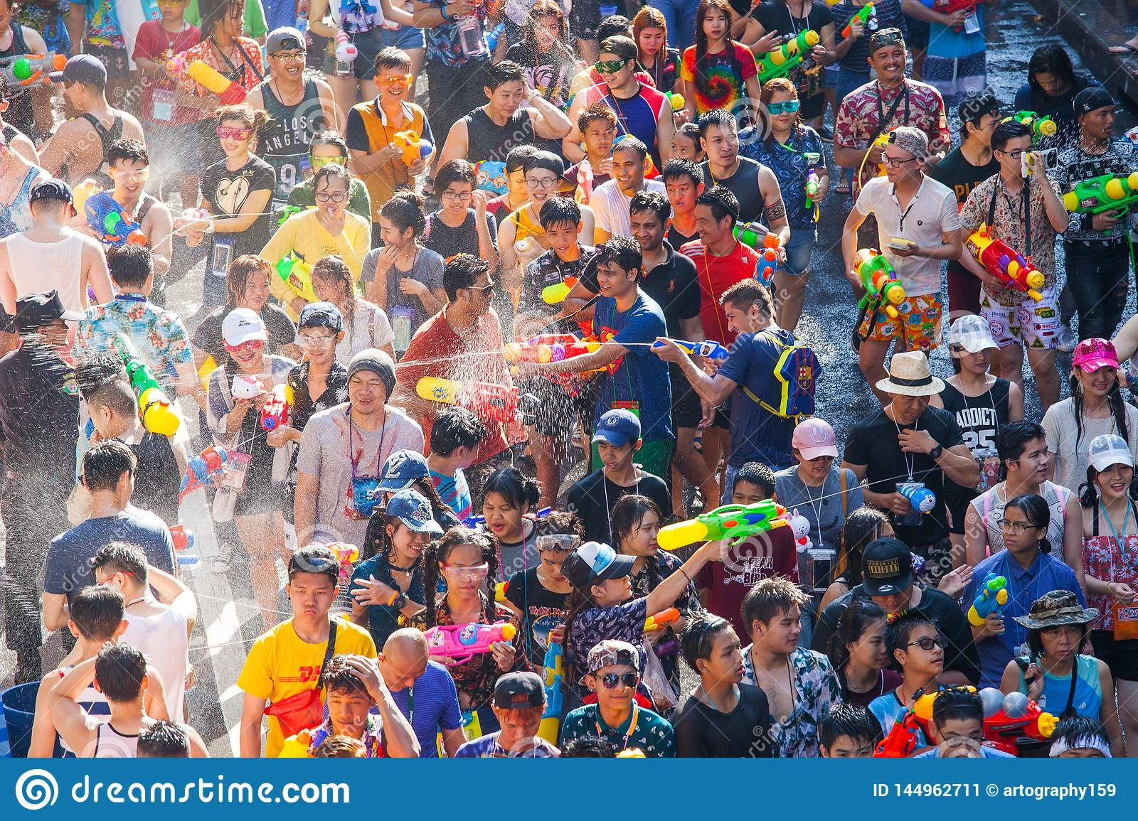 The Songkran festival in Silom, Bangkok. Celebrate Thai Traditional New Year.