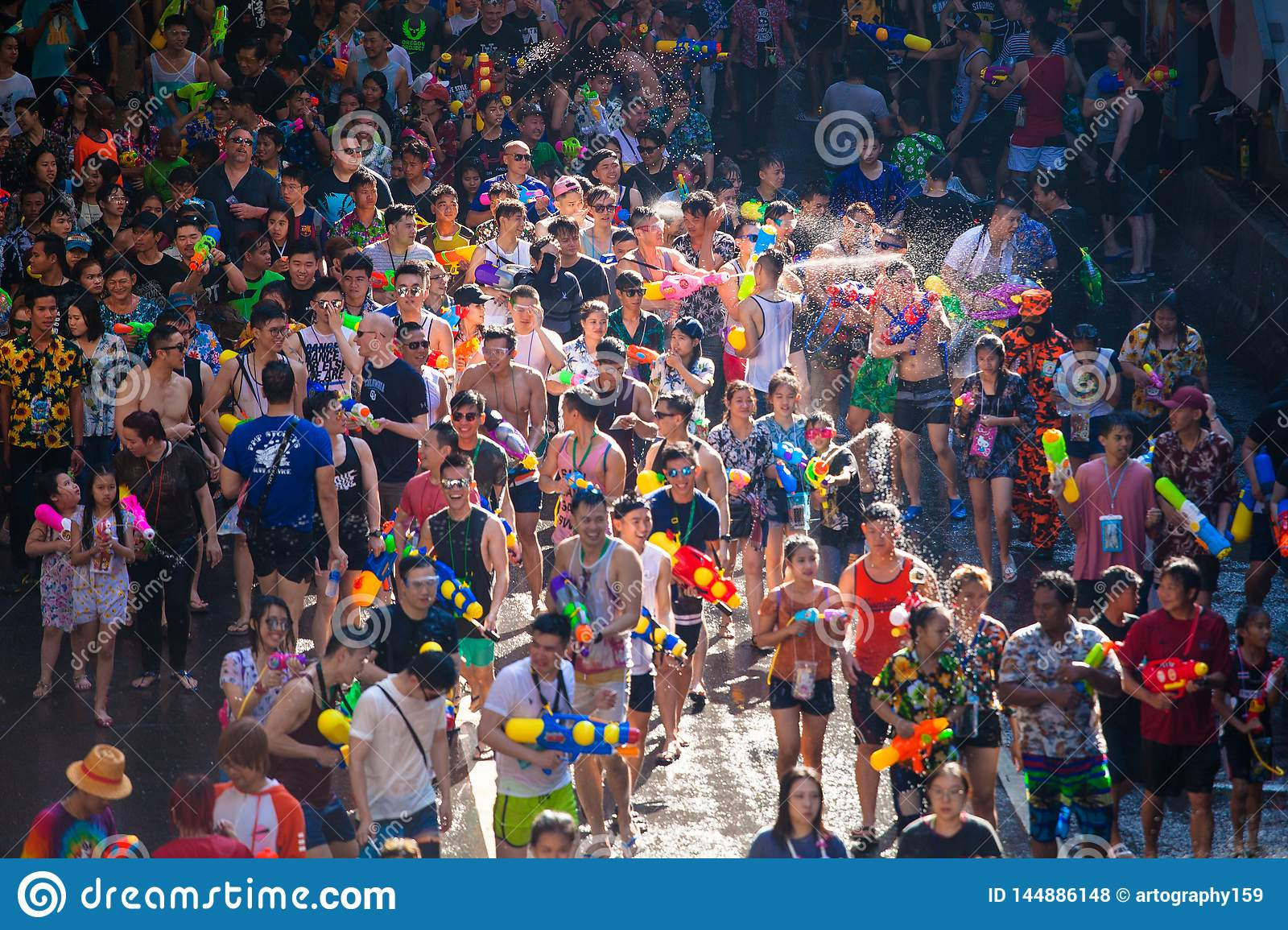 The Songkran Festival In Silom, Bangkok. Celebrate Thai ...