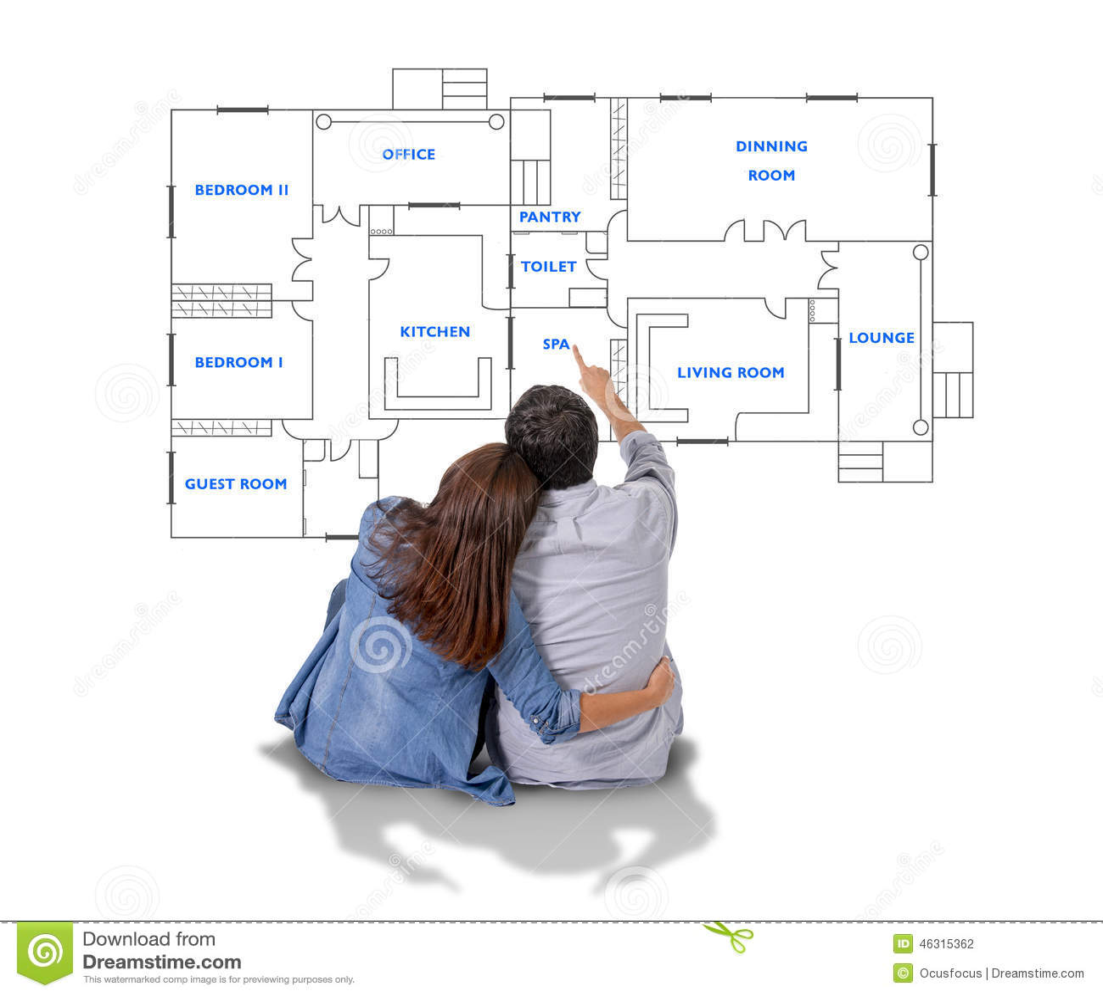 Sonho e imagem latente novos dos pares sua casa nova no conceito de estado real
