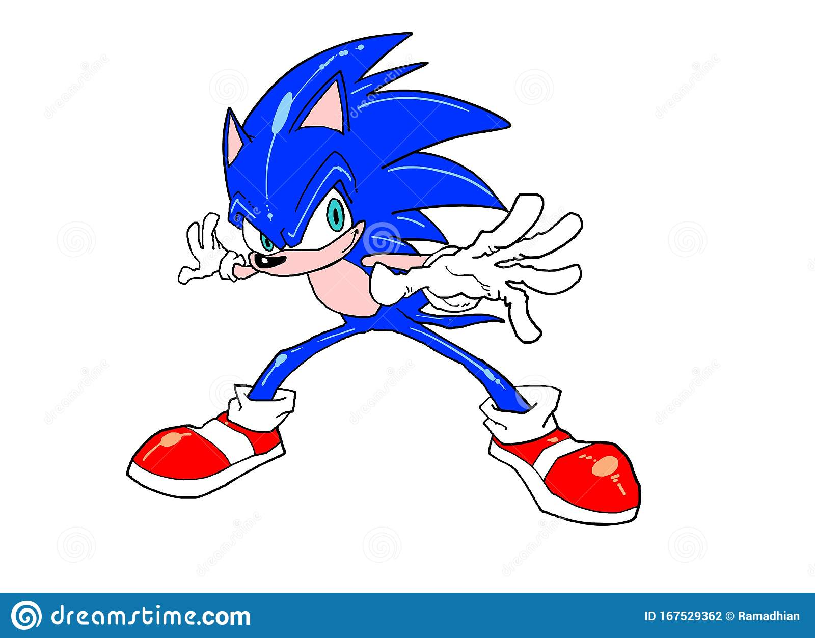 Sonic Cartoon In Standing Pose Ready To Speed Run And Action Stock