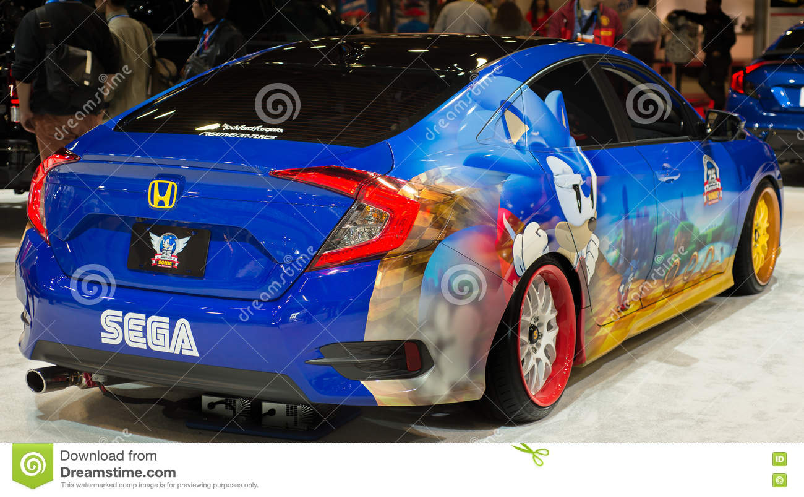 Sonic The Hedgehog Honda Civic At Sema Editorial Stock Photo Image Of Engineering Adrenaline 81234913