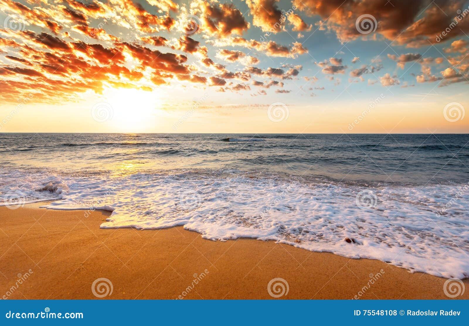 Sonnenaufgang über dem tropischen Strand