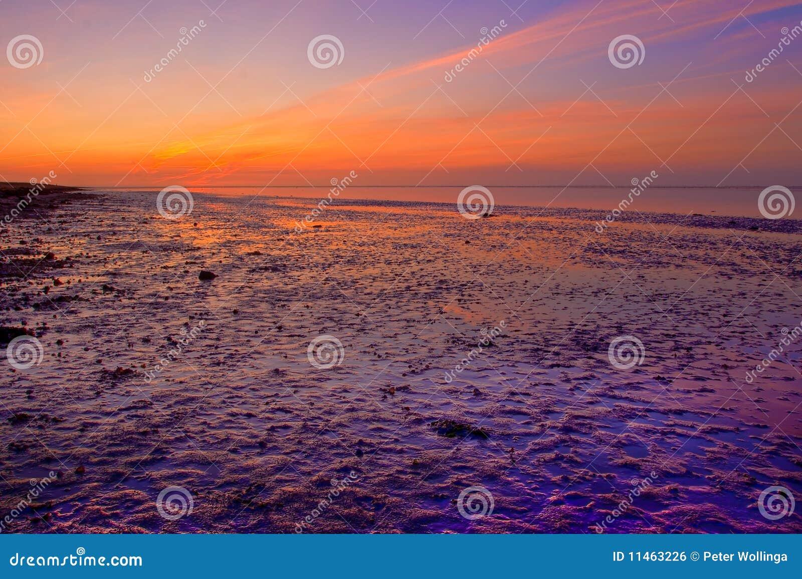 Sonnenaufgang an der Seeküstenlinie