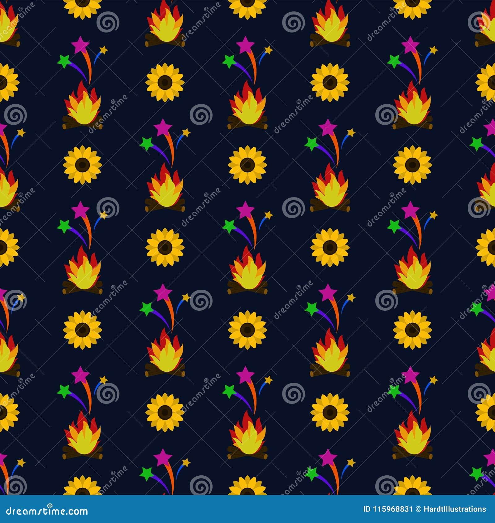 Sonnenblumen Festa Junina und Feuer-nahtloses Muster