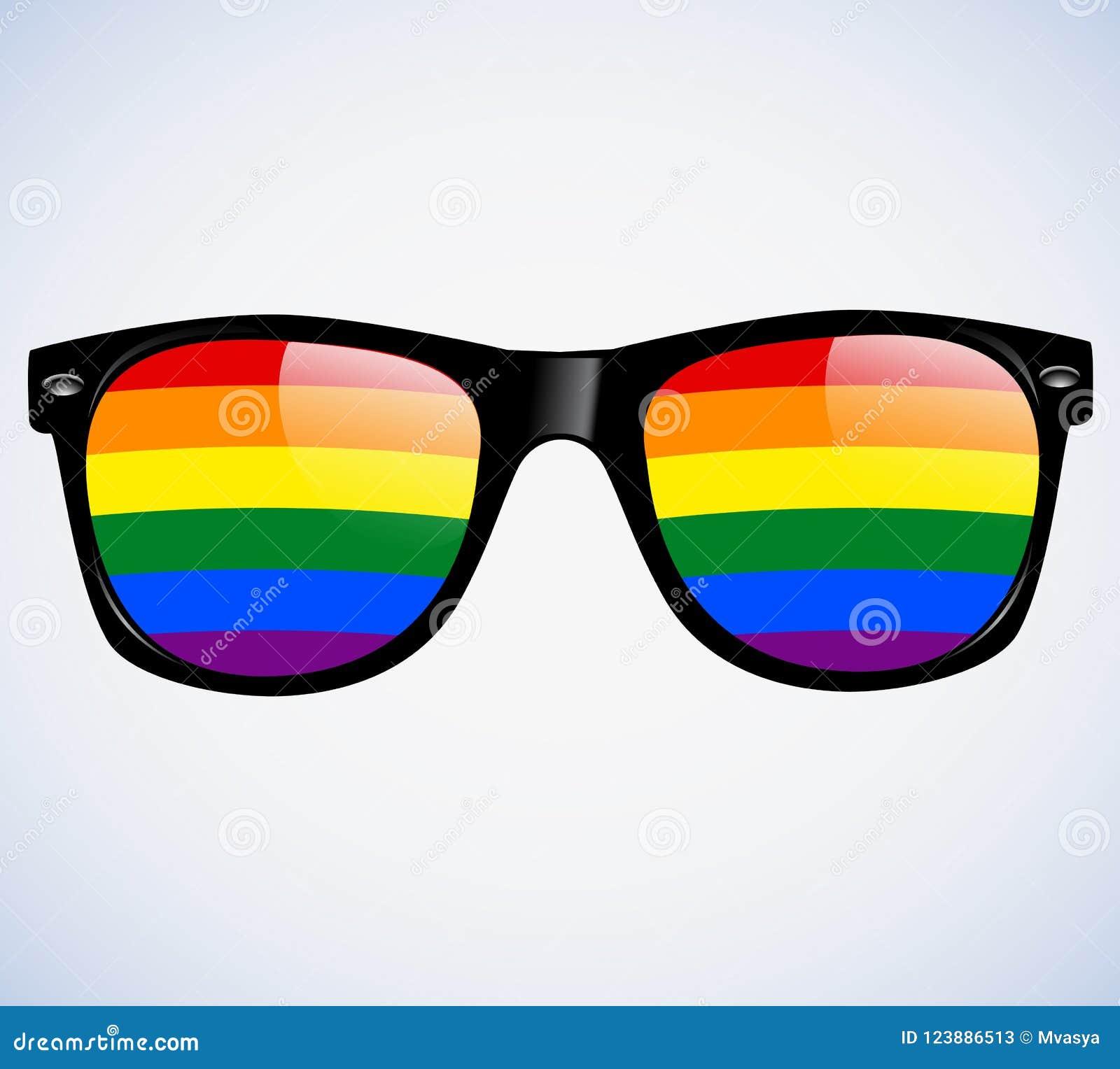Sonnenbrille-abstrakter Regenbogenlinsen Vektor-Illustrations-Hintergrund LGBT