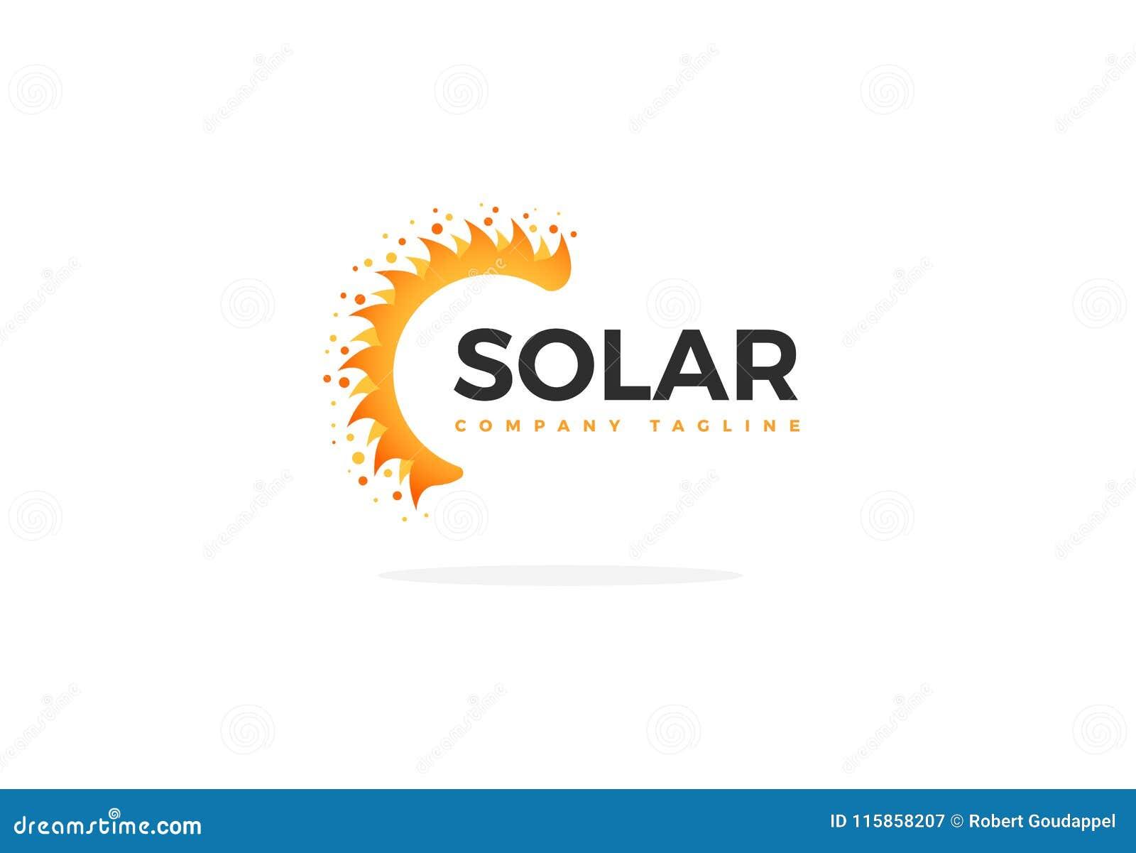 Sonnenkollektor Logo Vector In Shape Of ein halben Sun