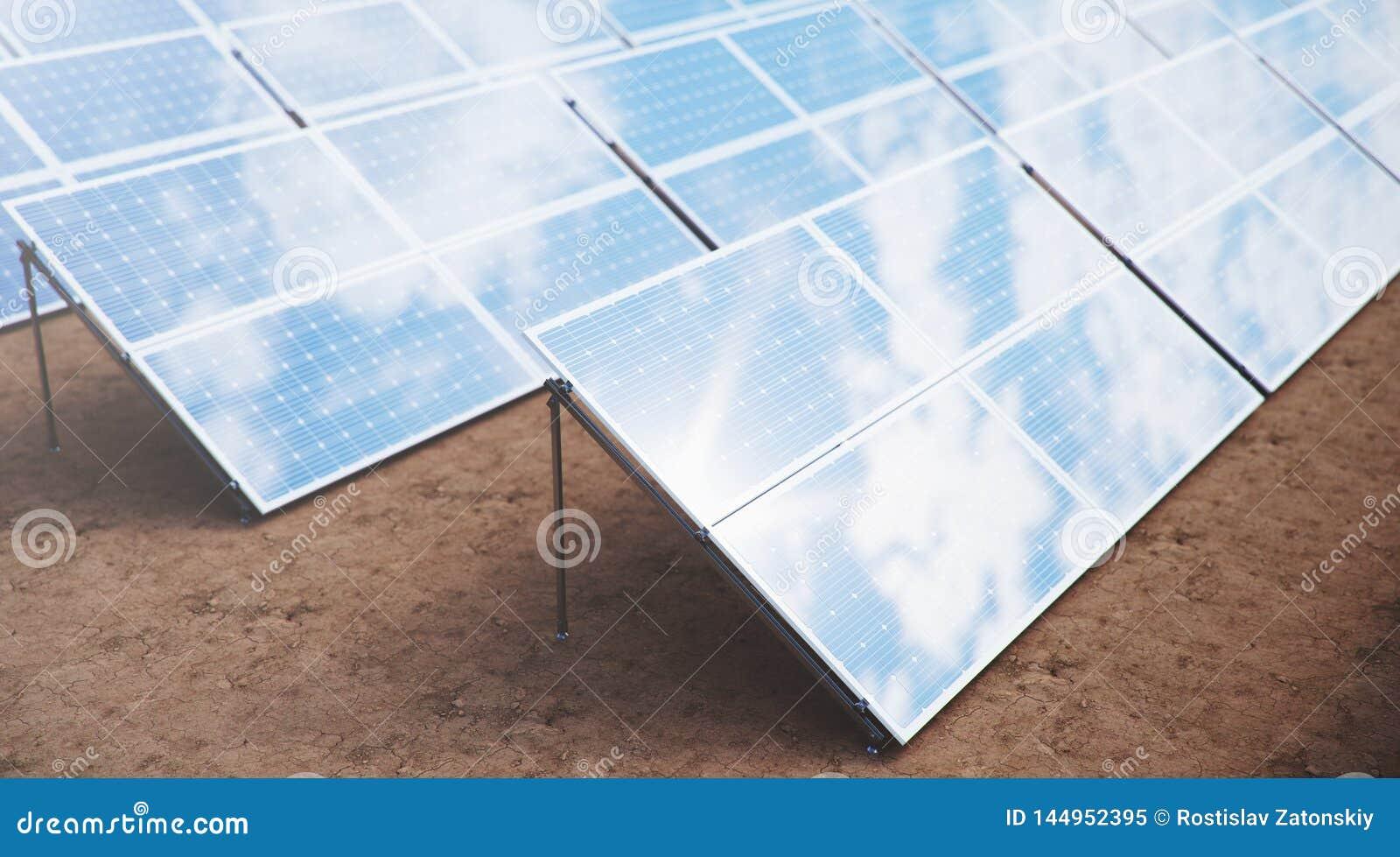 Sonnenkollektoren der Illustration 3D Alternative Energie Konzept der erneuerbarer Energie ?kologische, saubere Energie Sonnenkol