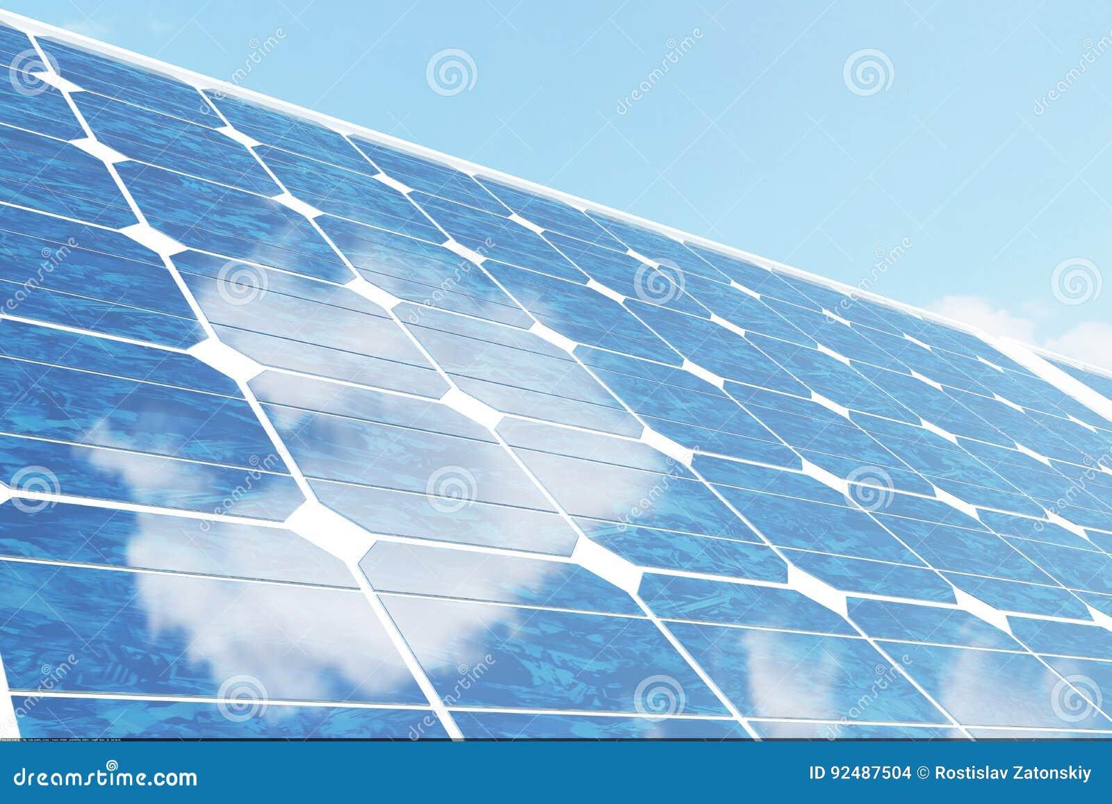Sonnenkollektoren der Illustration 3D auf Himmelhintergrund Alternative saubere Energie der Sonne Energie, Ökologie, Technologie