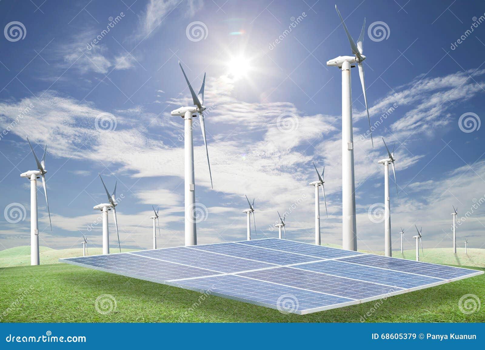 Sonnenkollektoren, Windkraftanlagen auf grünem Gras mit blauer Himmel backgrou