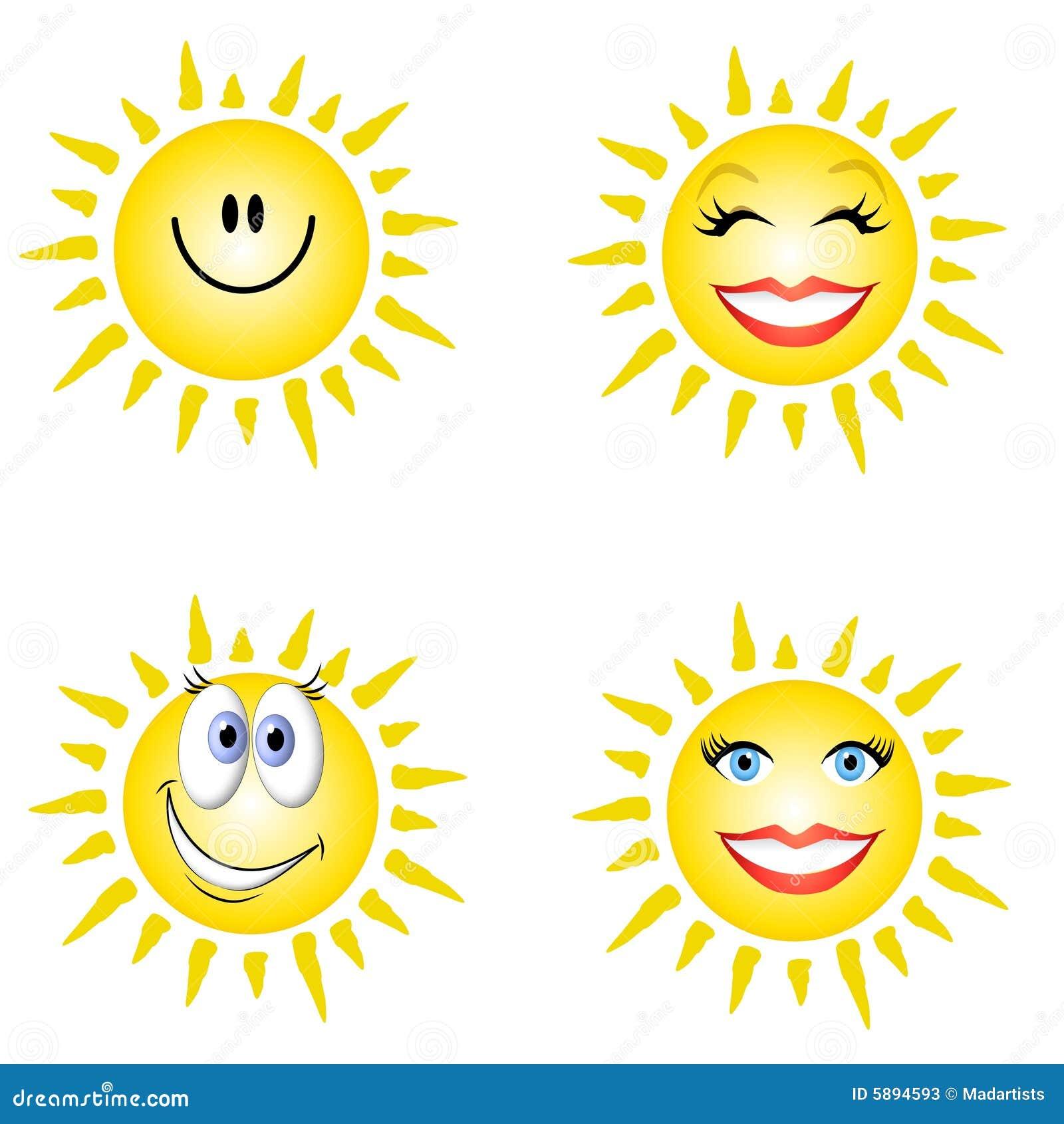 Sonnenschein-smiley-Gesichter Stock Abbildung - Illustration von ...