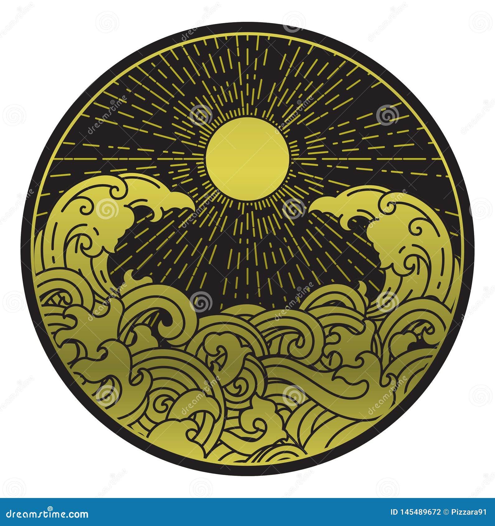 Sonnenschein- und Wasserwelle in der runden Form