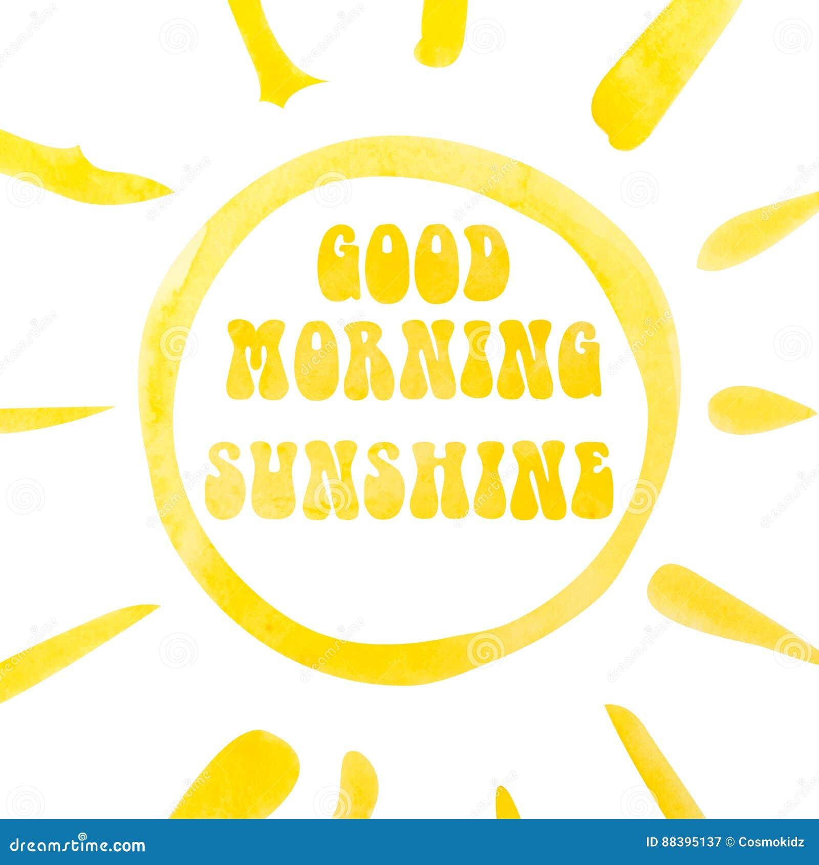 Sonnenscheinbeschriftungsplakat des gutenmorgens, abstrakter Sonnenschein, Aquarell mit Ausschnittsmaske