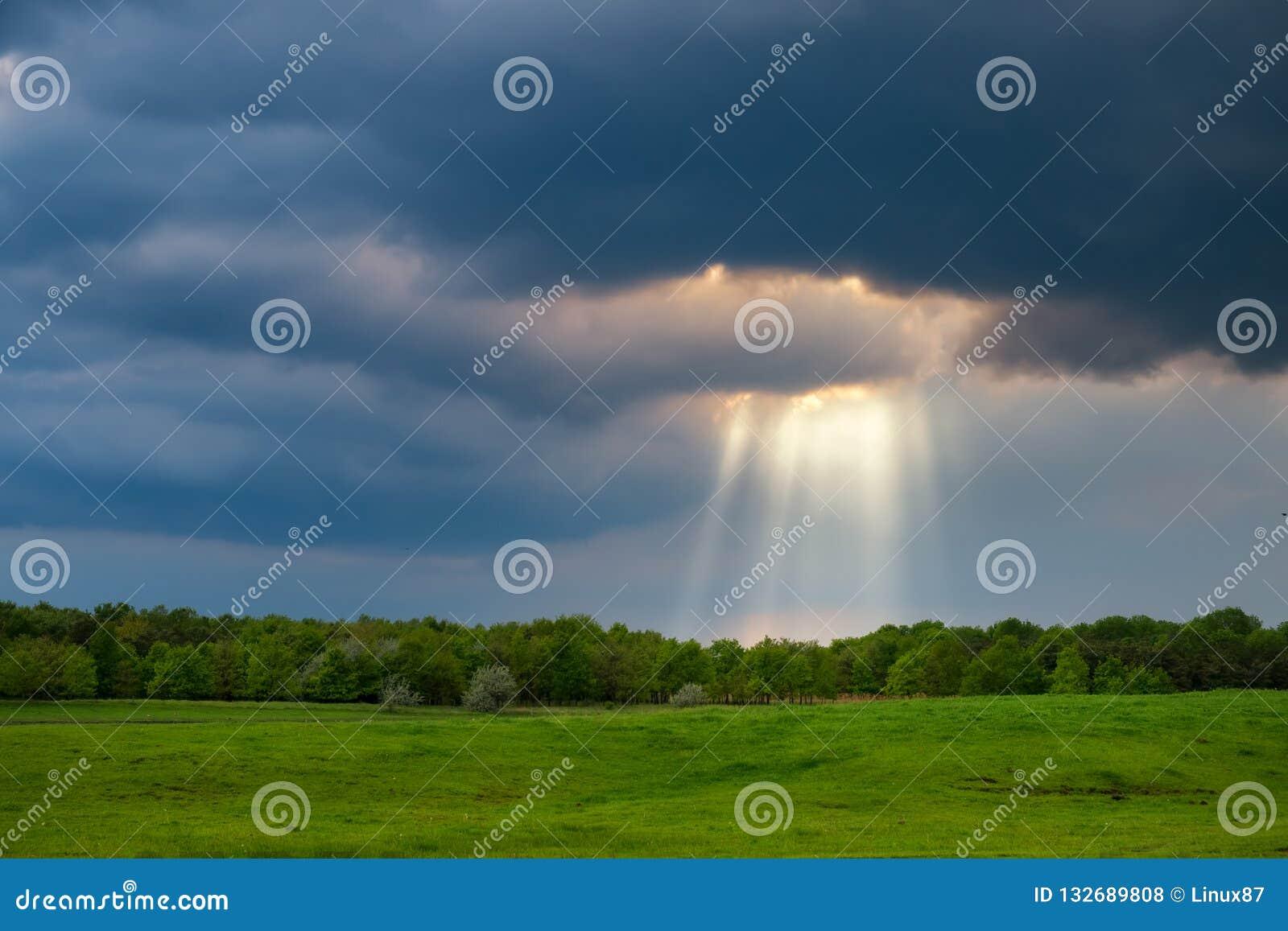 Sonnenstrahlen über dem stürmischen Feld