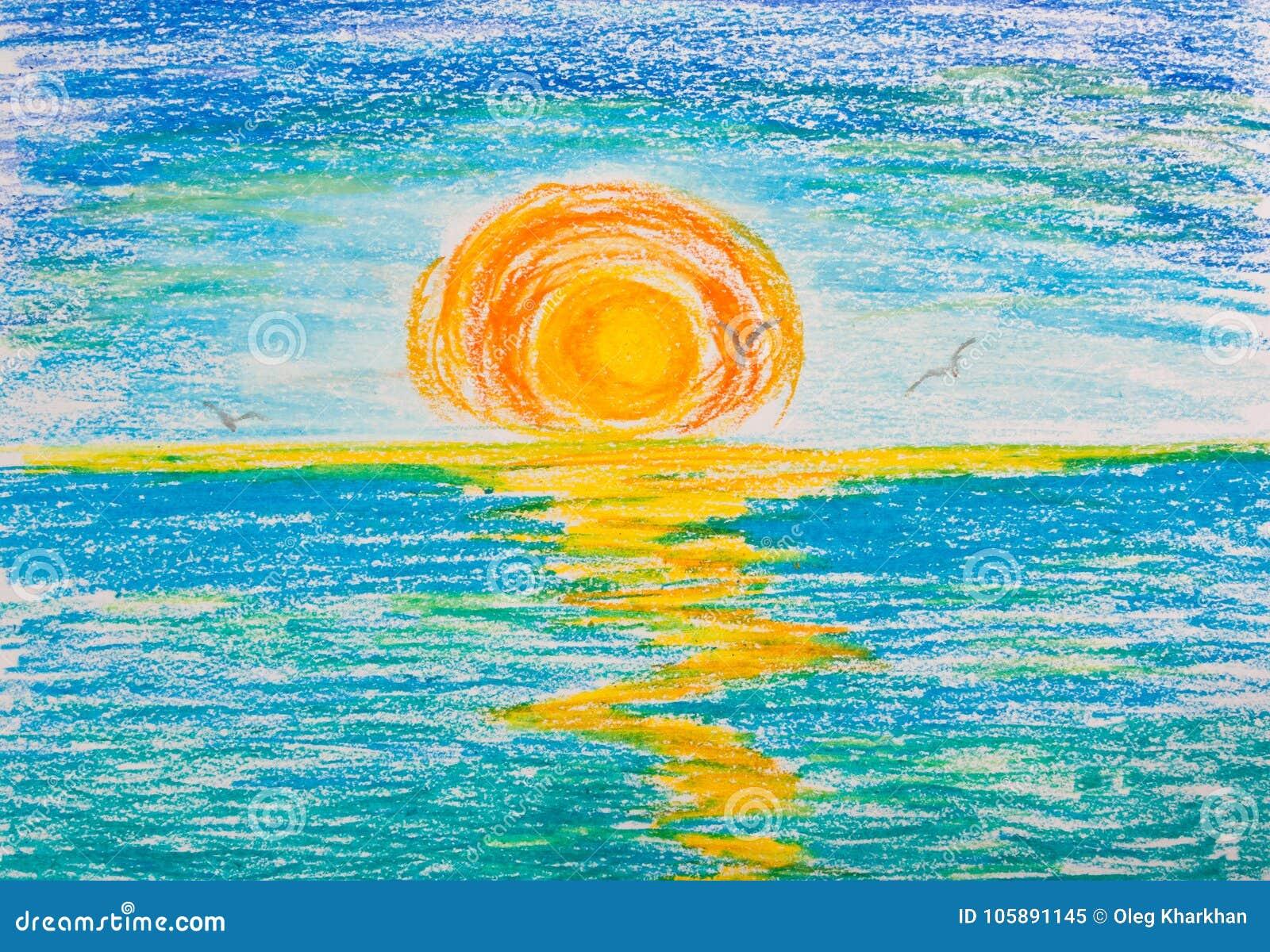 Sonnenuntergang Auf Dem Meer Mit Seemöwen Stock Abbildung ...