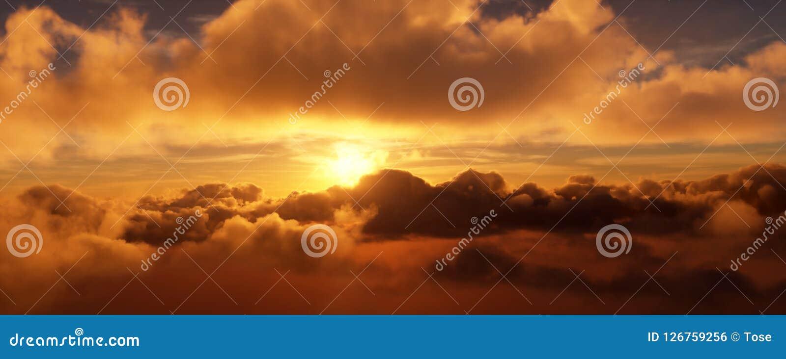 Sonnenuntergang in den Wolken Die helle Scheibe der Sonne wird teils durch die Wolken versteckt Wiedergabe 3d