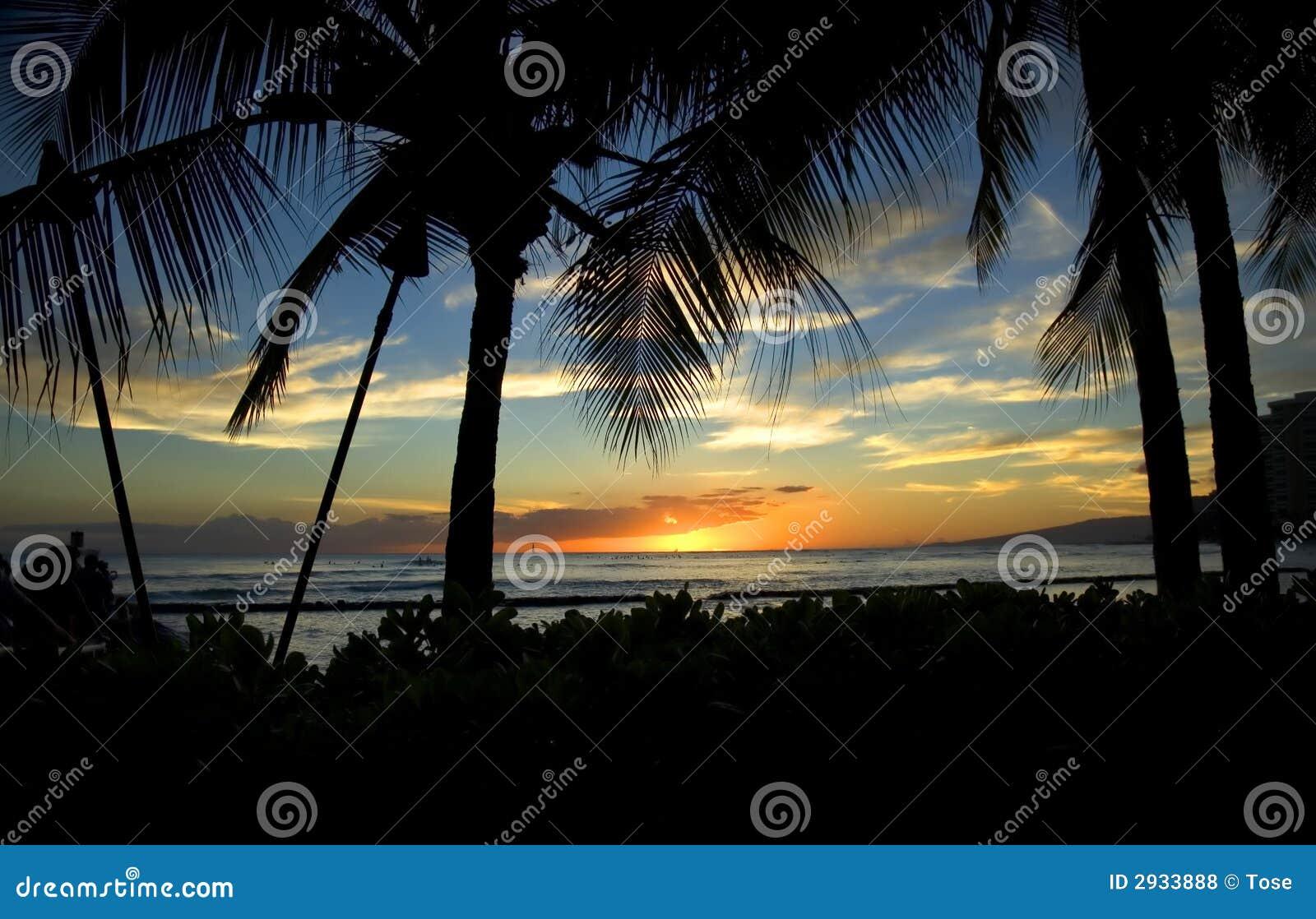 Sonnenuntergang im Waikiki Strand