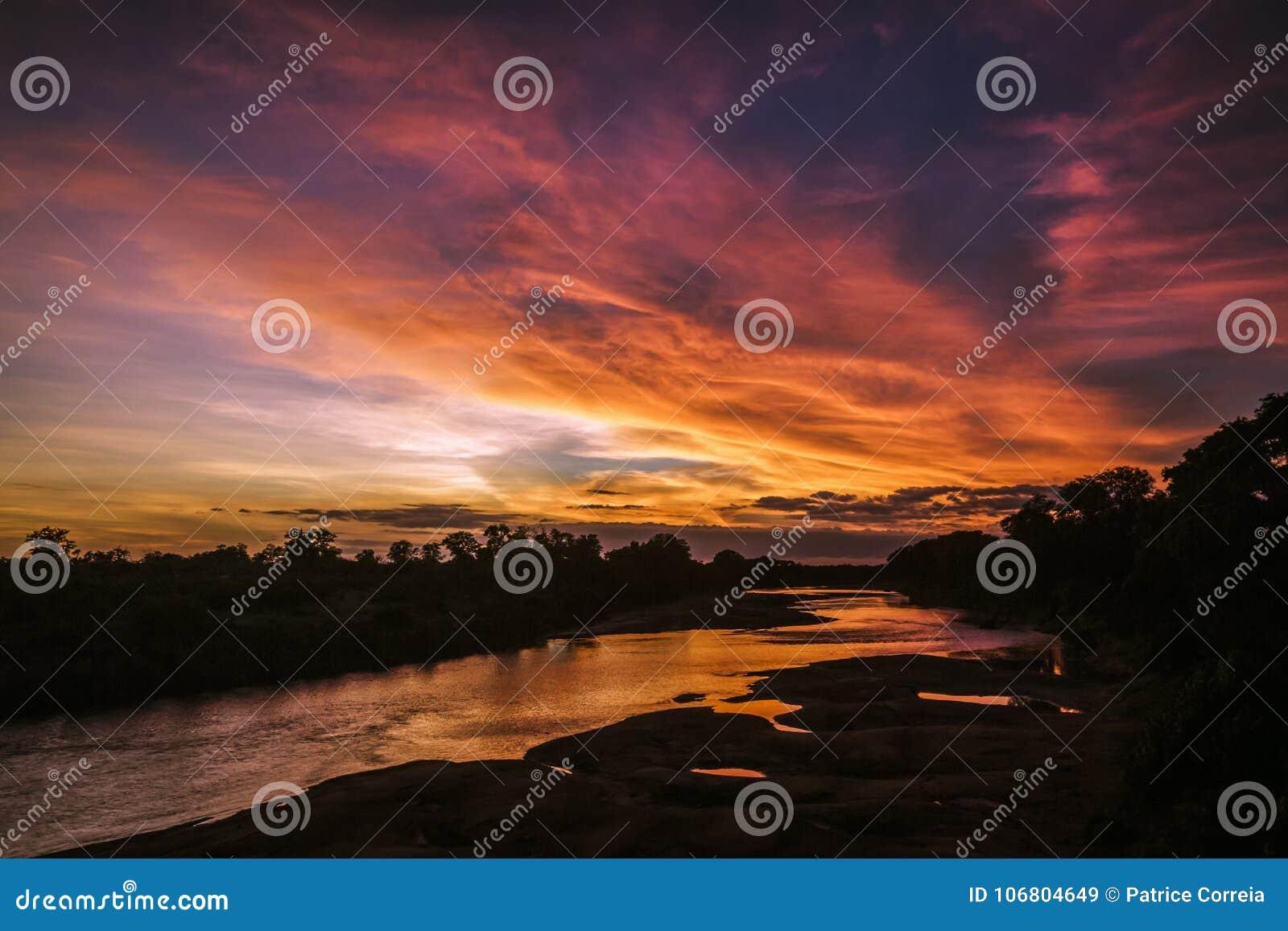 Download Sonnenunterganglandschaft In Nationalpark Kruger, Südafrika Stockbild - Bild von südlich, abend: 106804649