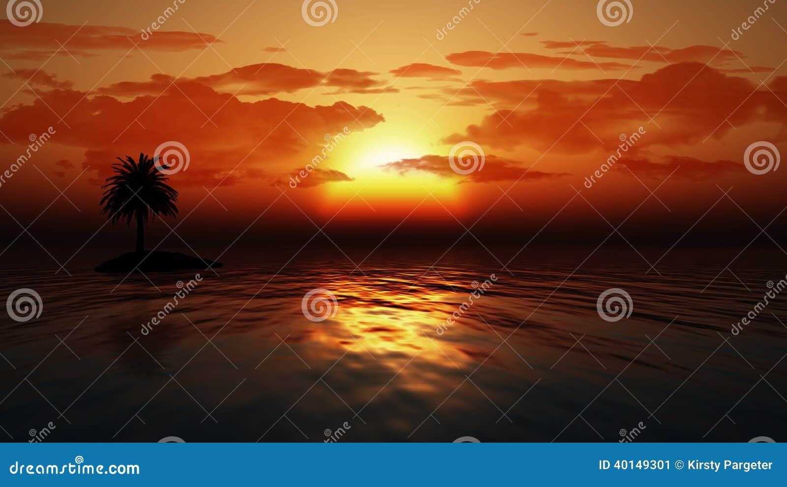 Sonnenuntergangozean mit Palme