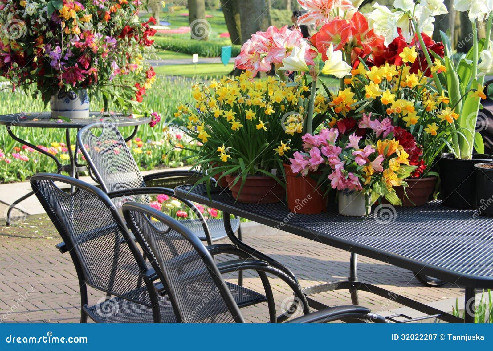 sonnige terrasse mit vielen blumen lizenzfreie stockfotografie bild 32022207. Black Bedroom Furniture Sets. Home Design Ideas