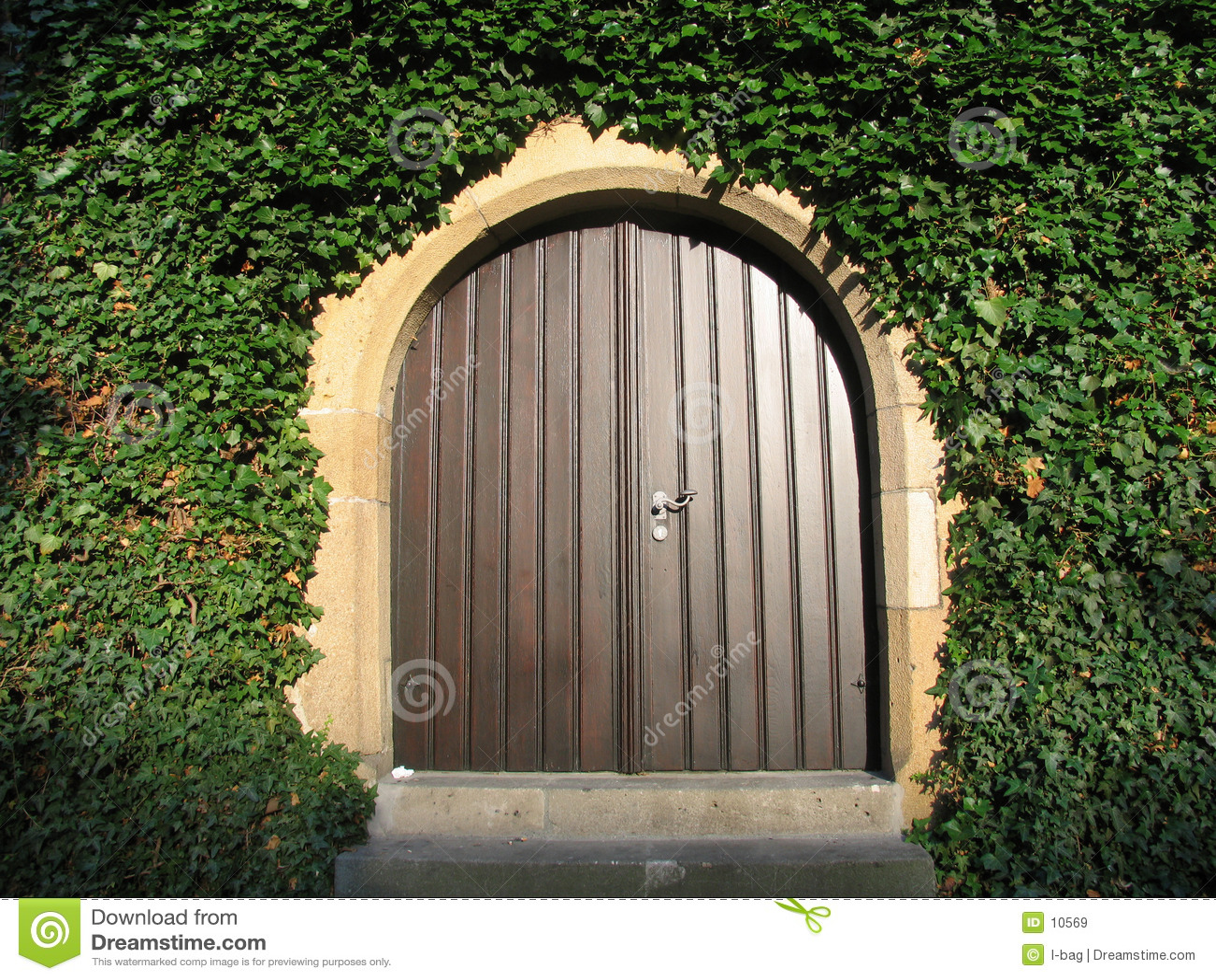 Sonniger hölzerner Eingang