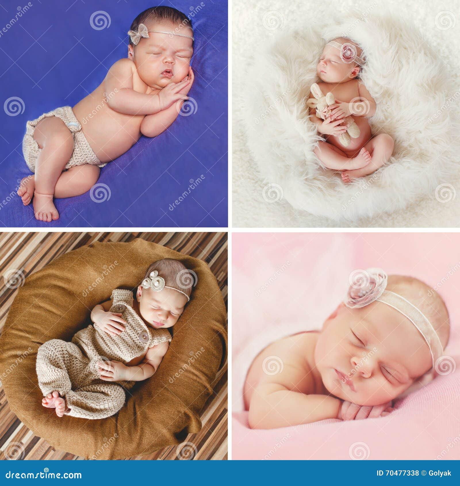 Sonno pacifico di un neonato, un collage di quattro immagini