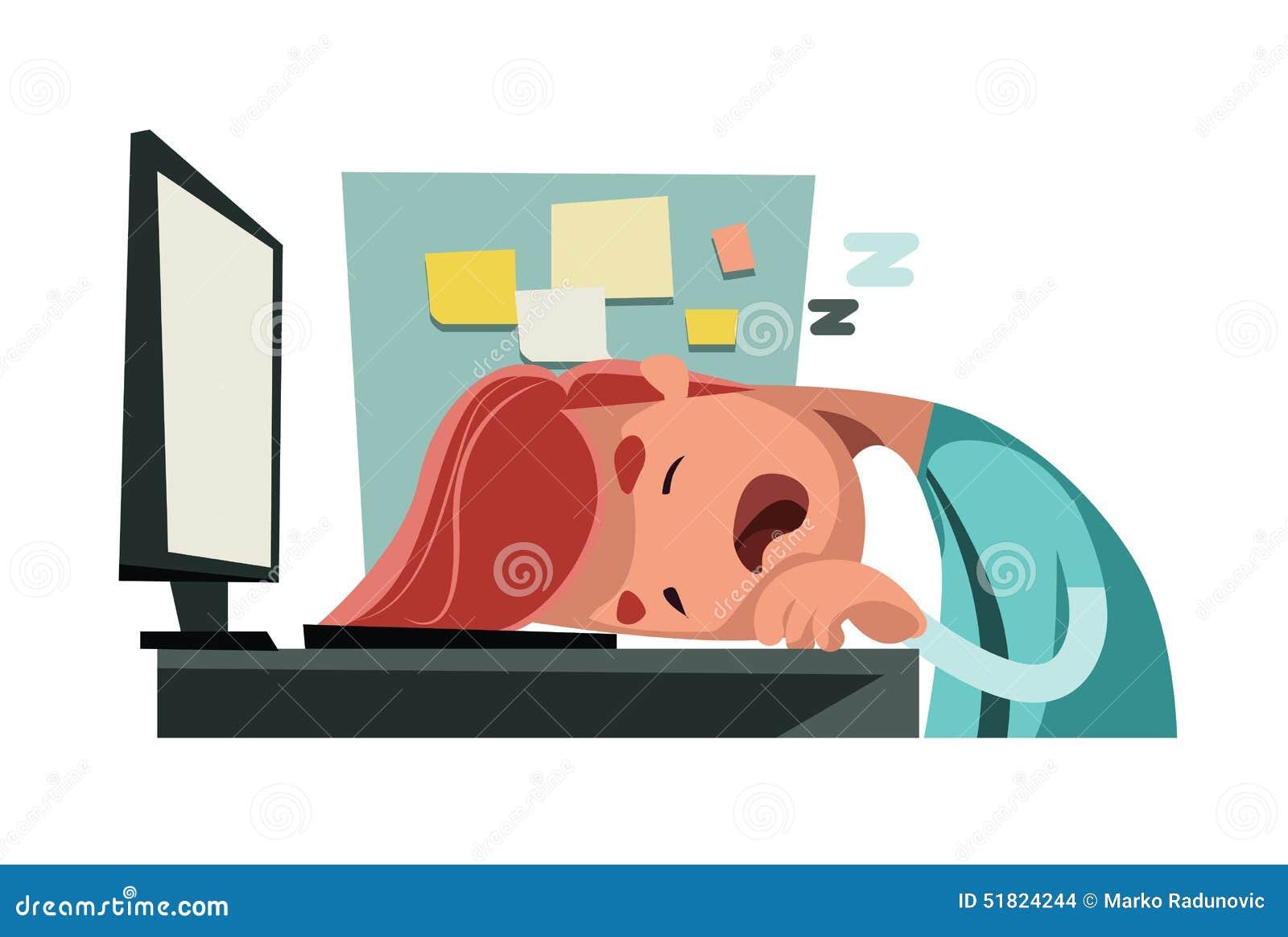 Sono no escritório no personagem de banda desenhada da ilustração do computador
