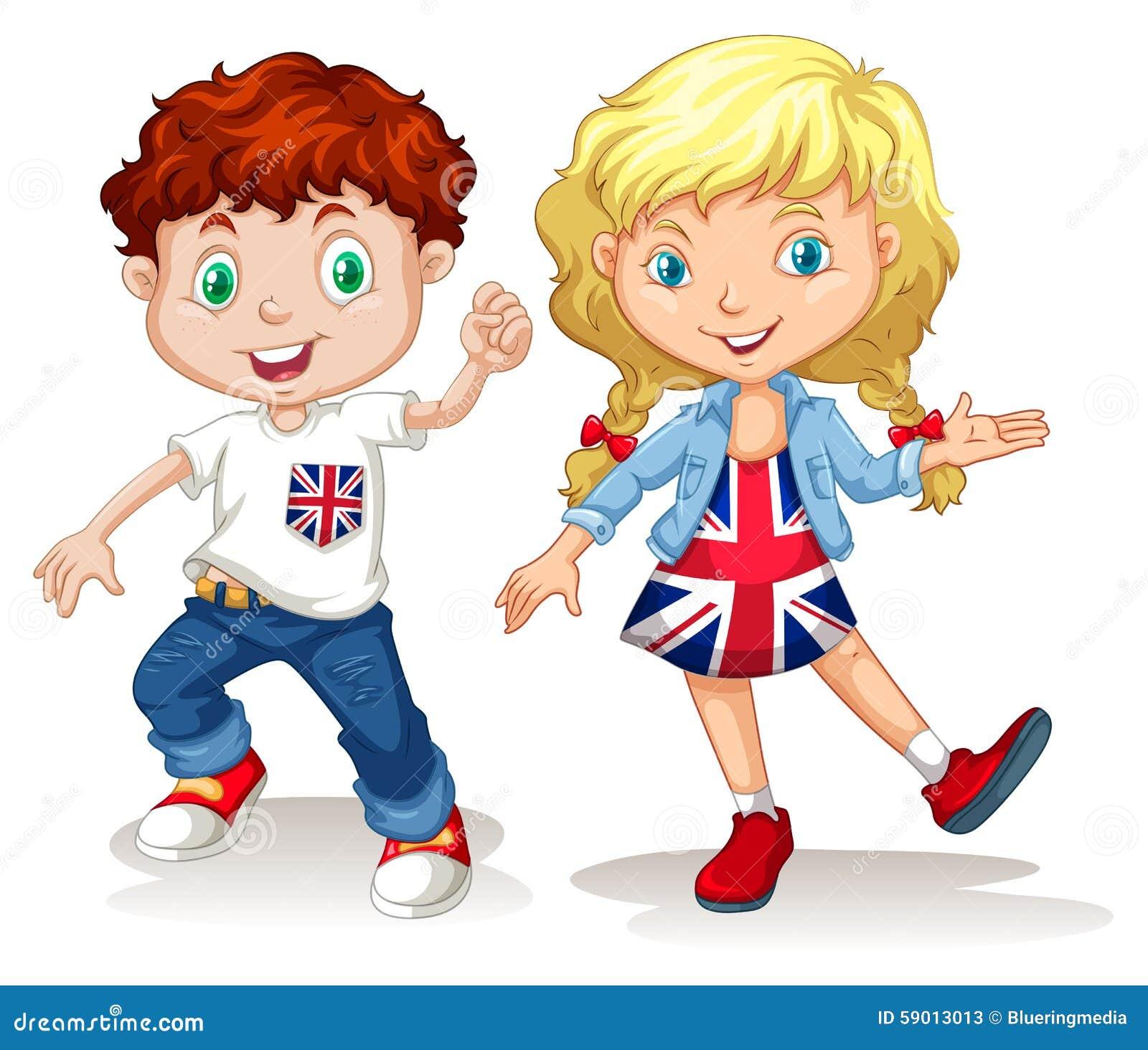 Sonrisa británica del muchacho y de la muchacha