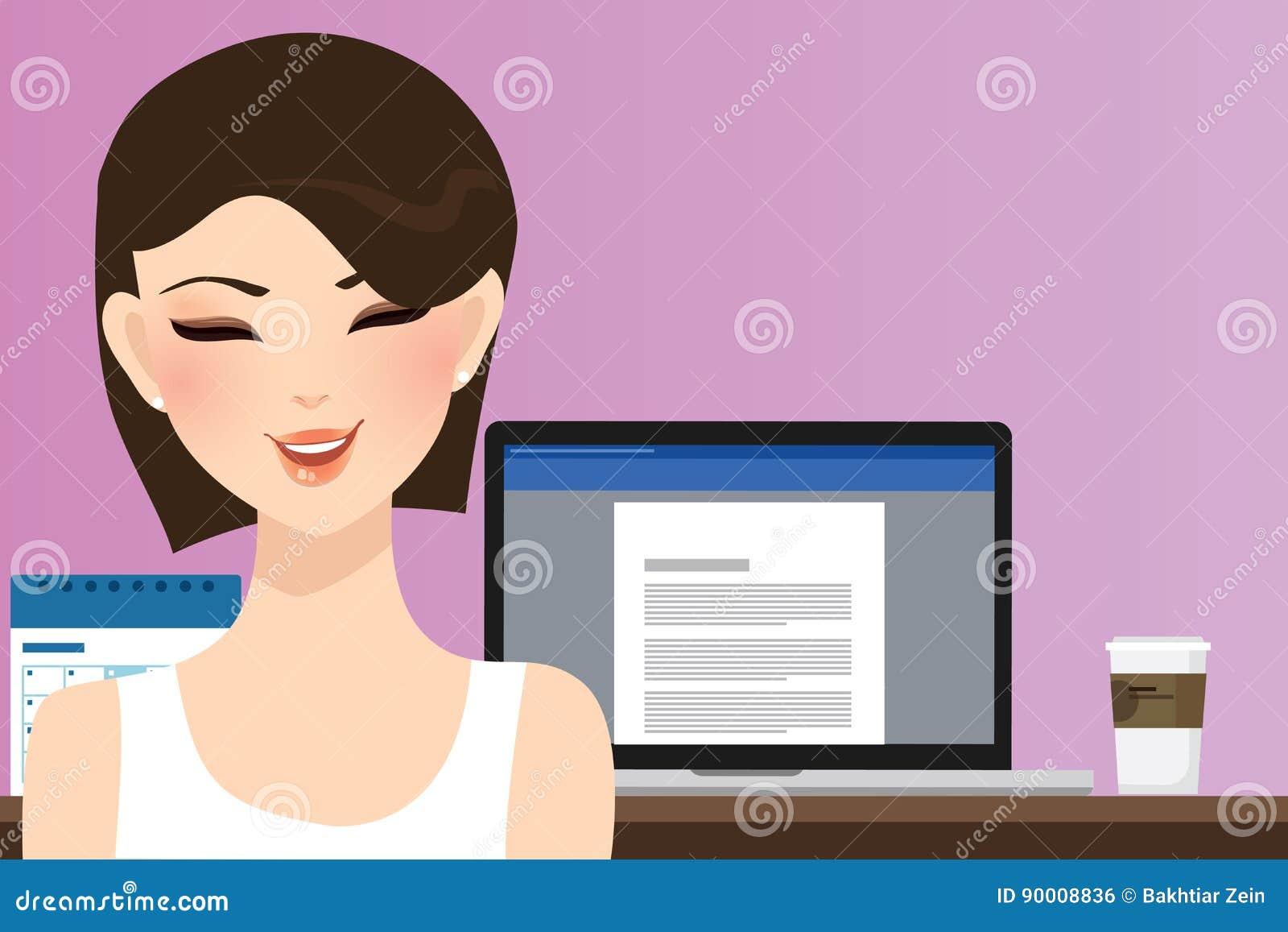 Sonrisa de la mujer delante del ordenador que trabaja en hogar de la oficina como ejemplo del escritor de la copia de la muchacha