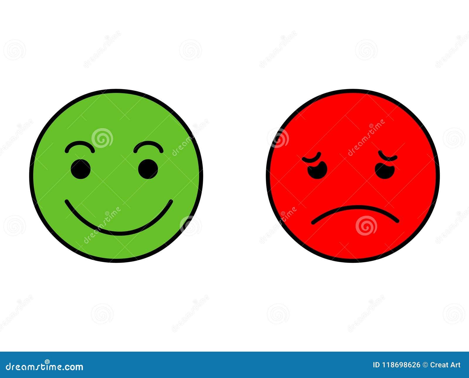 Sonrisa feliz y sonrisa triste Vector de la etiqueta engomada de Emoji