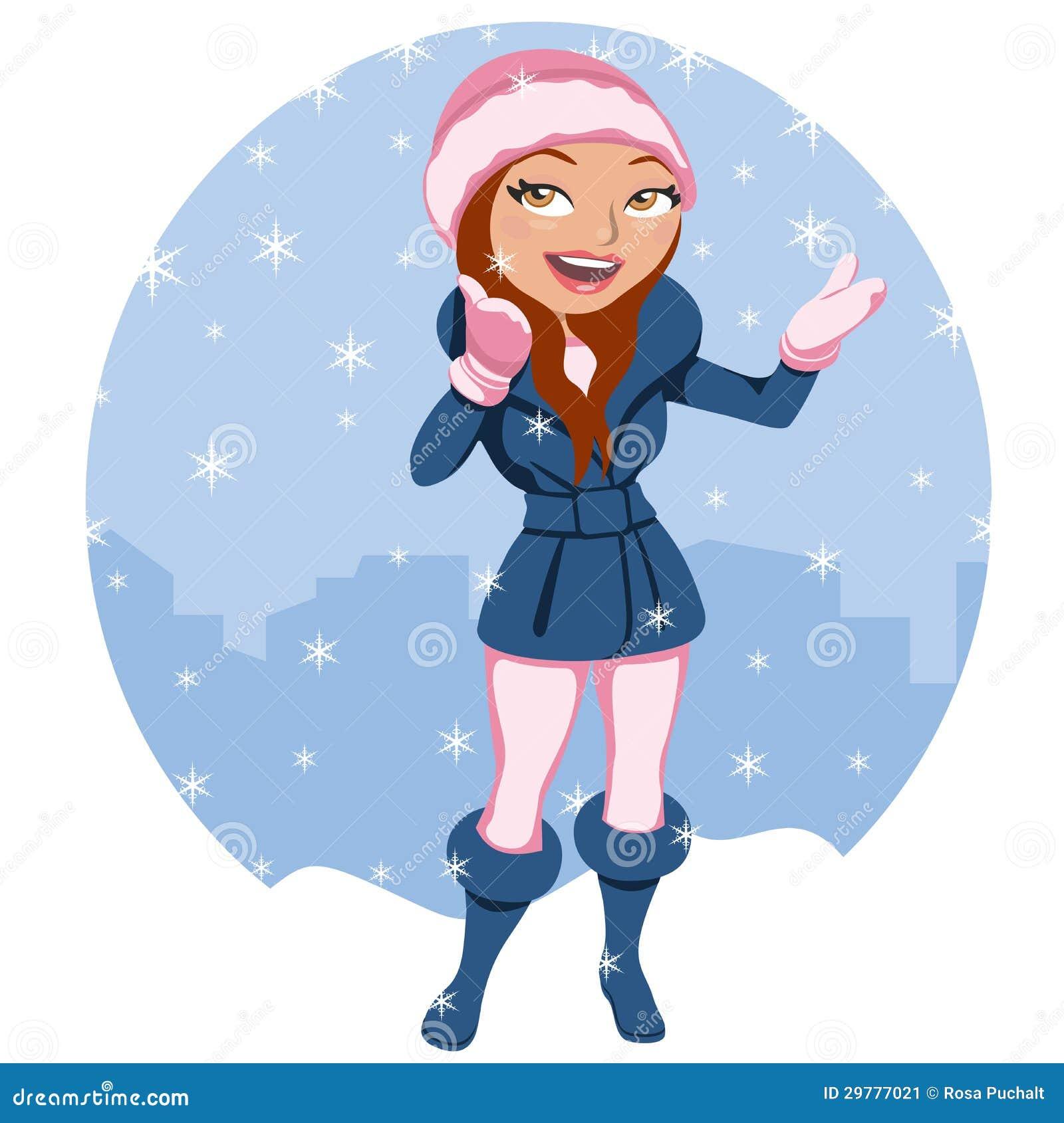 Mujer debajo de la nieve