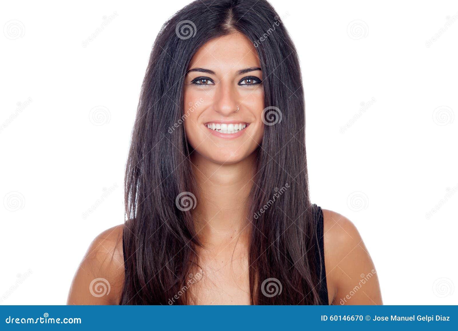 Sonrisa morena bonita de la muchacha