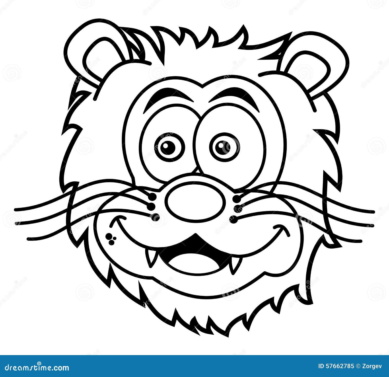 Sonrisa Principal Del León Para Colorear Stock de ilustración ...