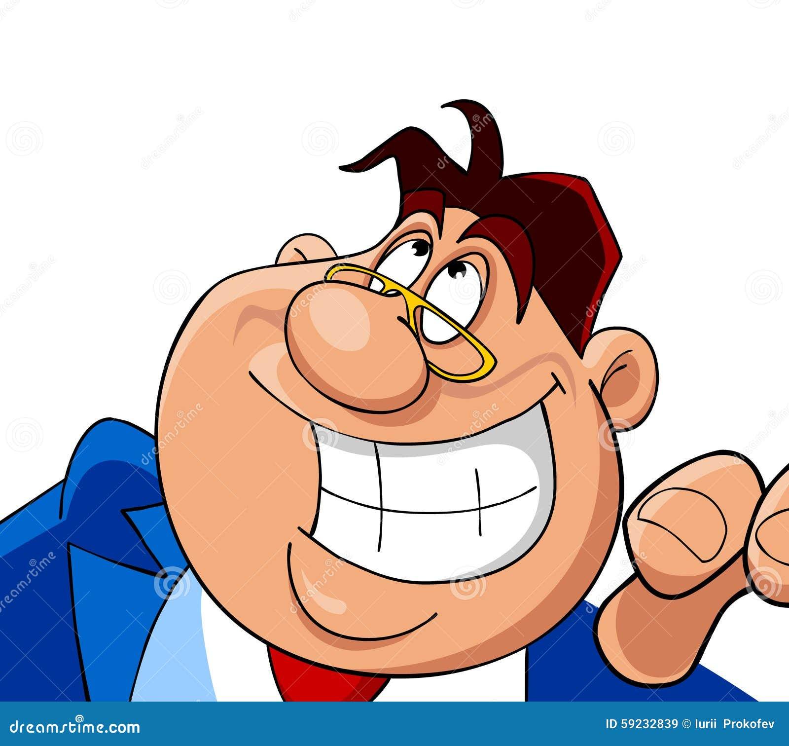 Download Sonrisas Alegres Del Hombre De La Historieta Ilustración del Vector - Ilustración de carácter, ilustración: 59232839