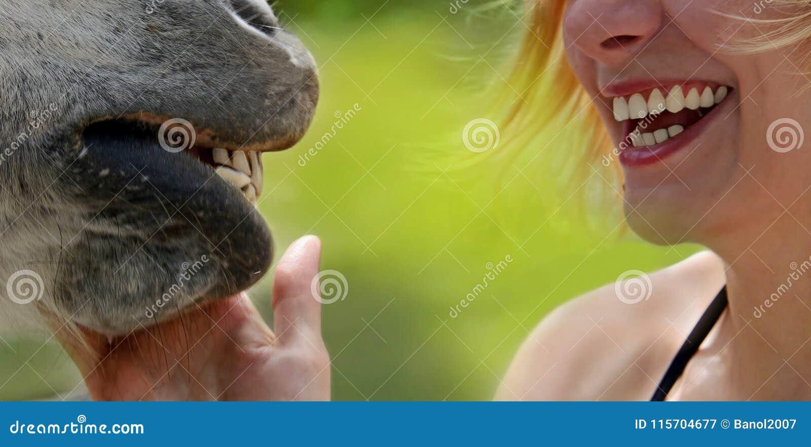 Sonrisas de la muchacha y del caballo felices