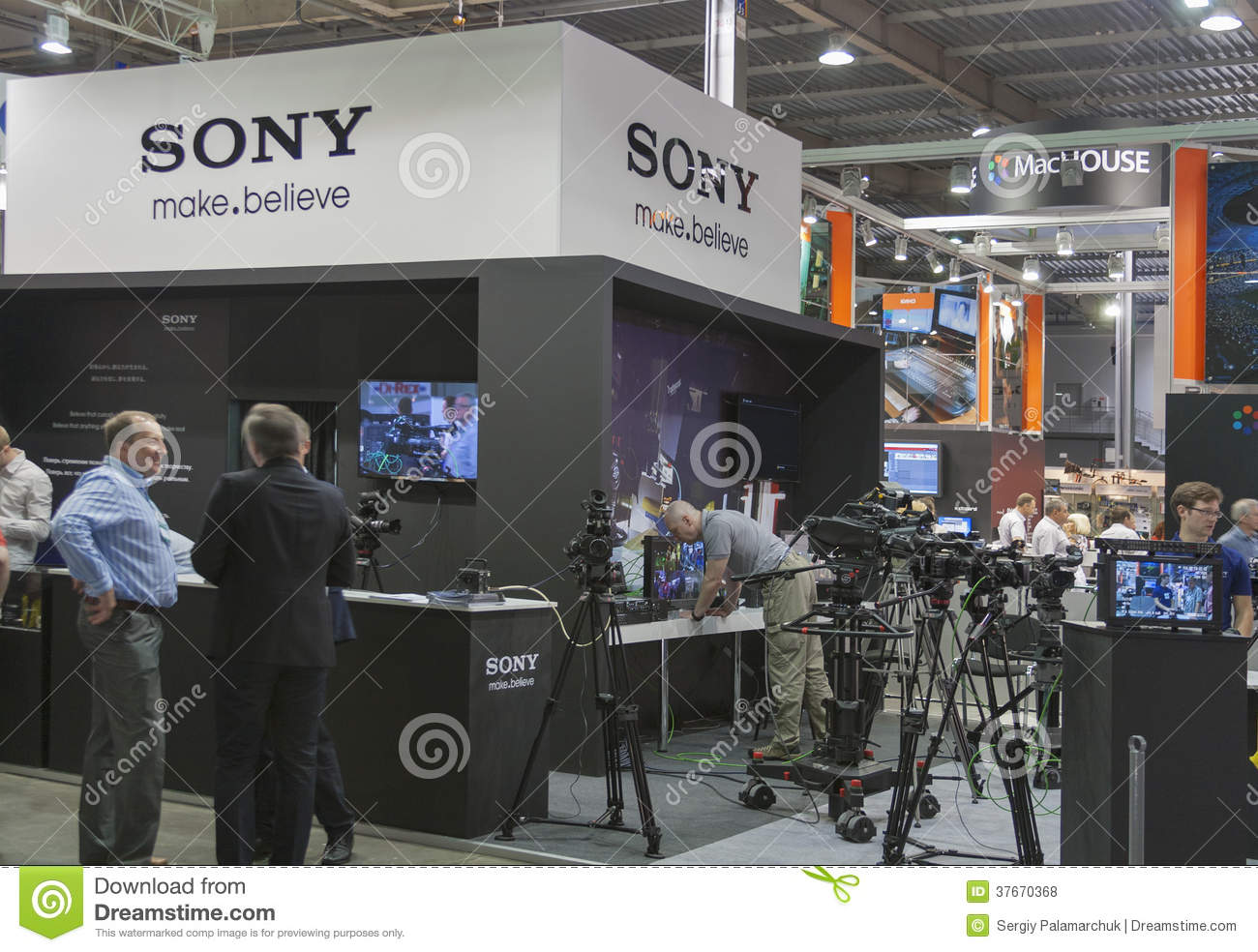 Sony TV equipment booth editorial stock photo  Image of exhibition