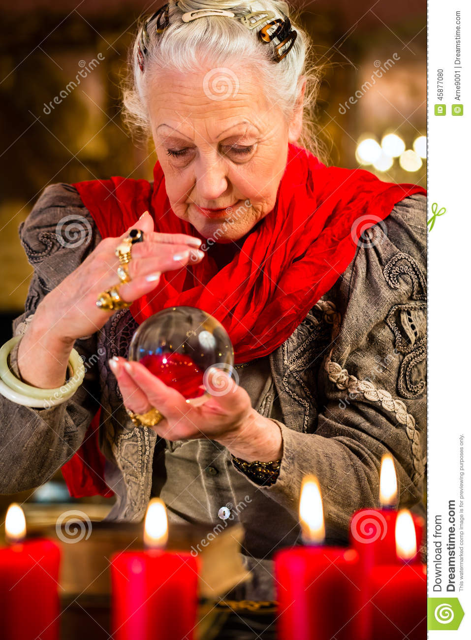 Soothsayer During Session With Crystal Ball Stock Photo - Image of
