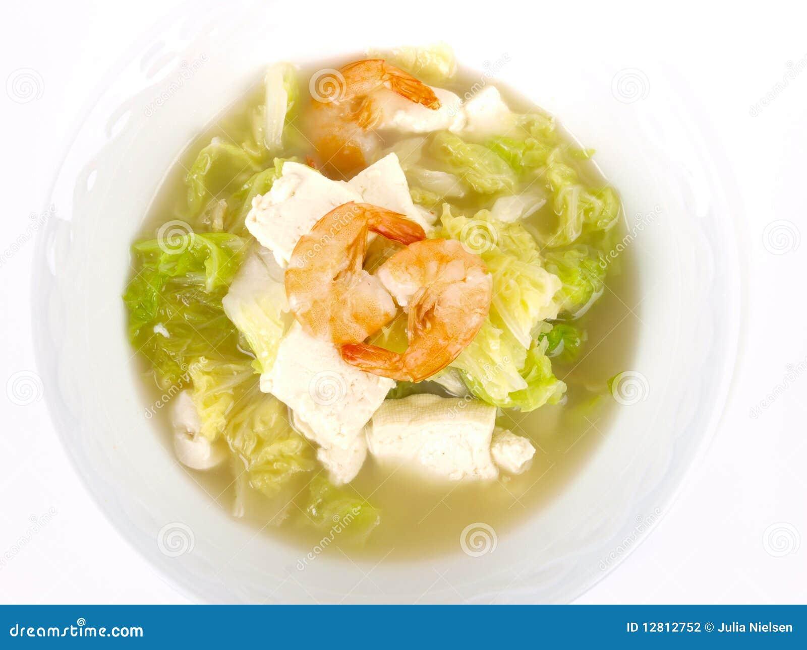 Sopa chinesa do tofu do estoque de galinha