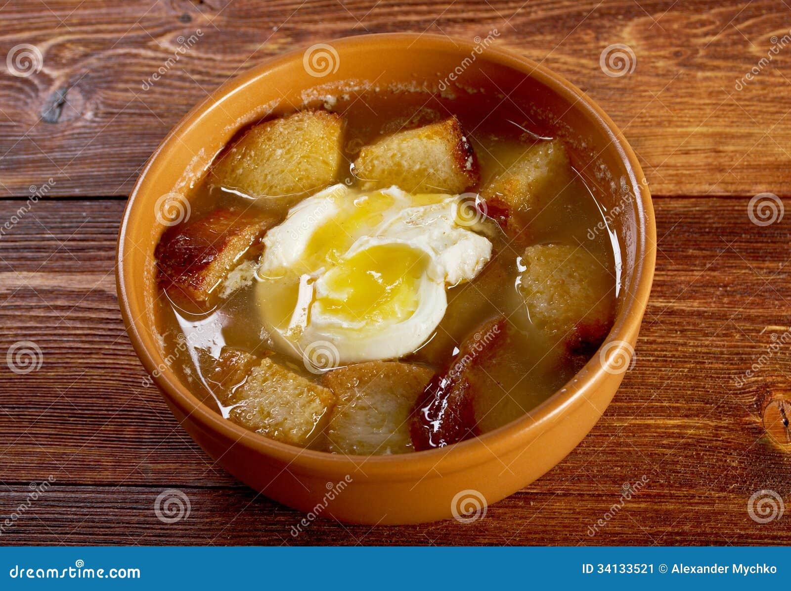 Sopa de ajo , castilian garlic soup.farm-style.