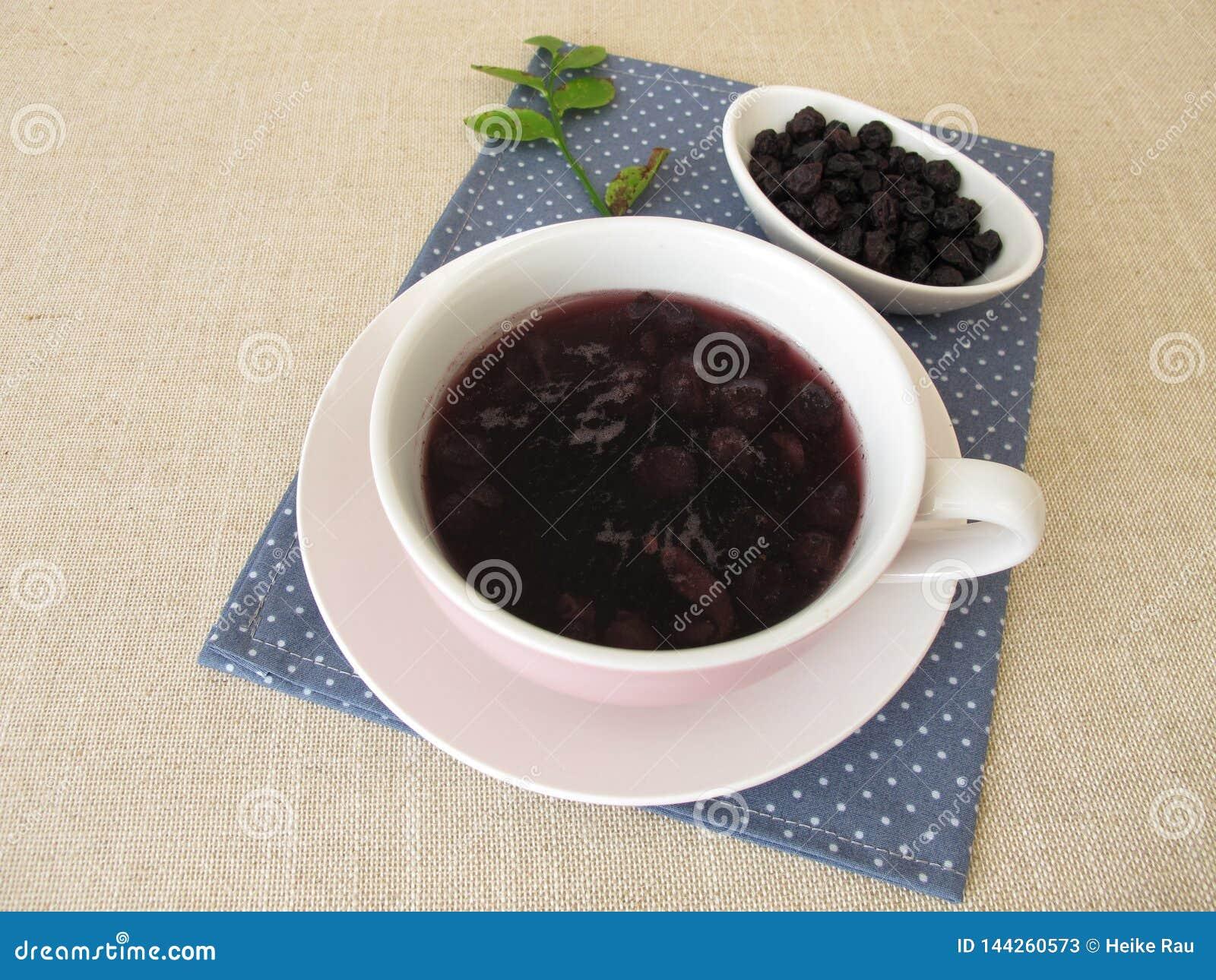 Sopa del arándano de los arándanos secados