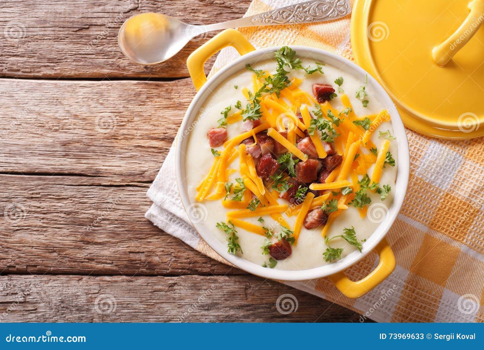 Patata Porner sopa del puré de patata con el primer del tocino y del