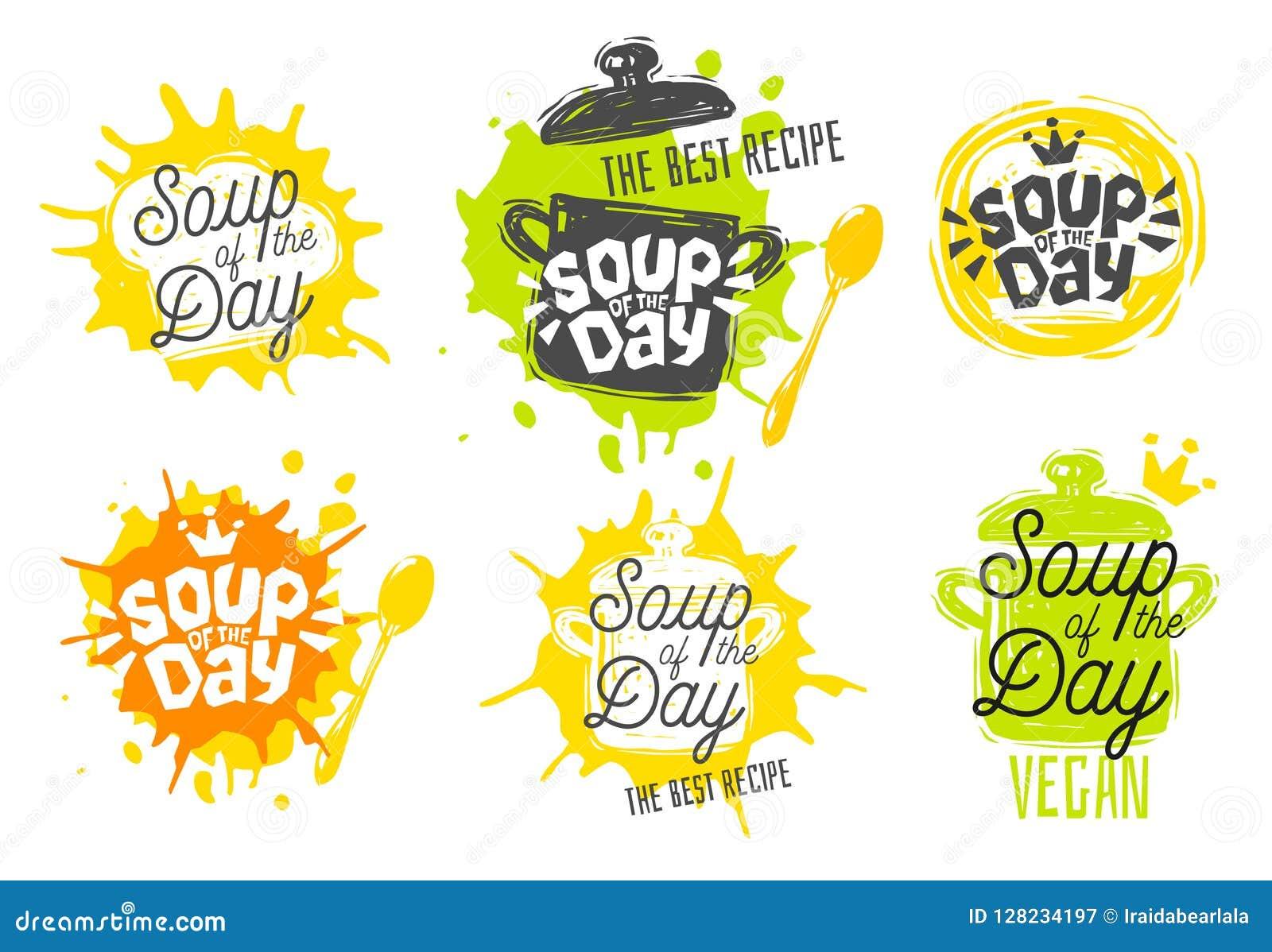 Sopa do dia, estilo do esboço que cozinha os ícones da rotulação ajustados