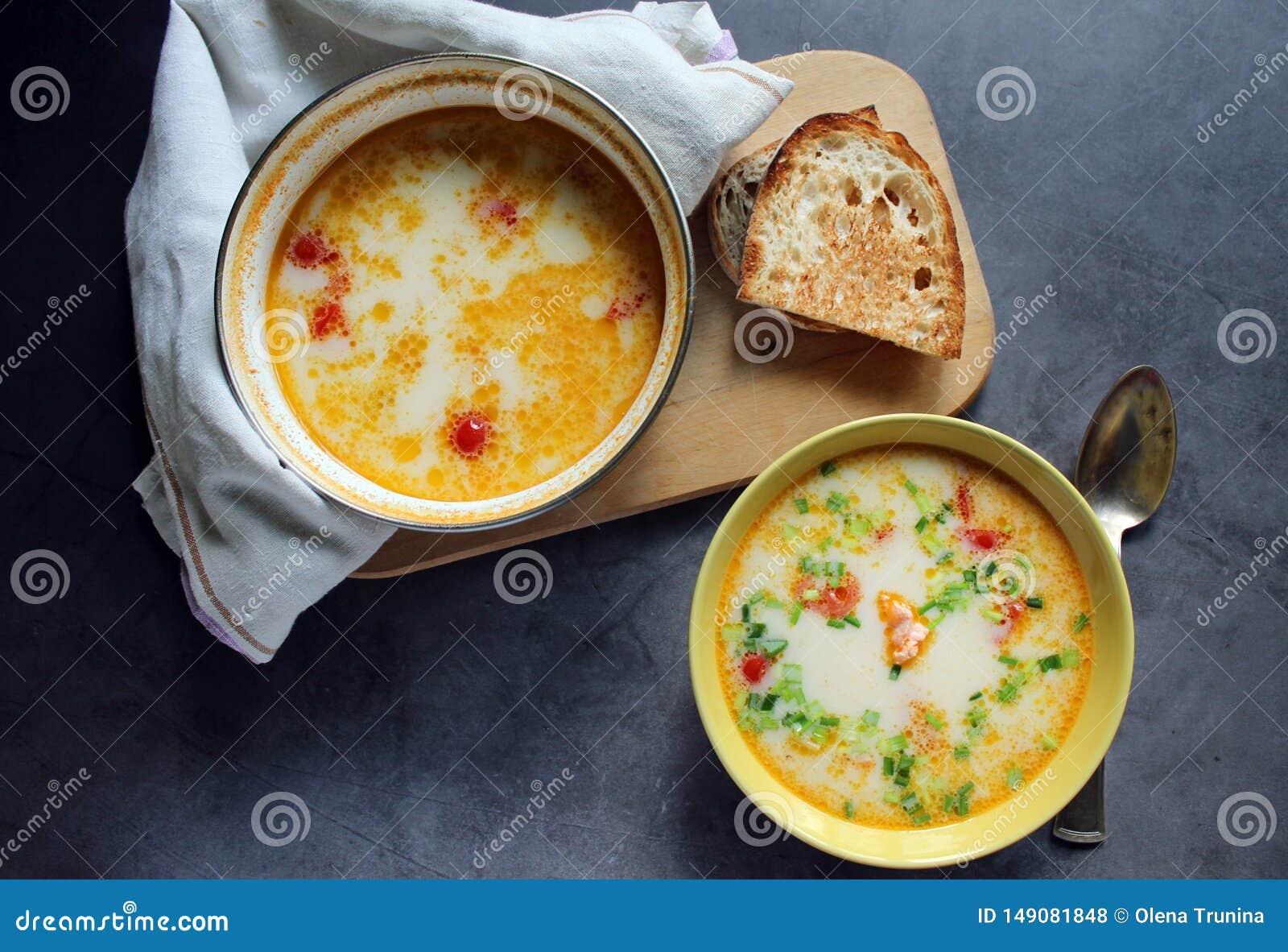 Sopa dos salm?es com creme e vegetais em uma placa amarela ca?arola com sopa dos salm?es em uma toalha P?o na placa Em um backg e